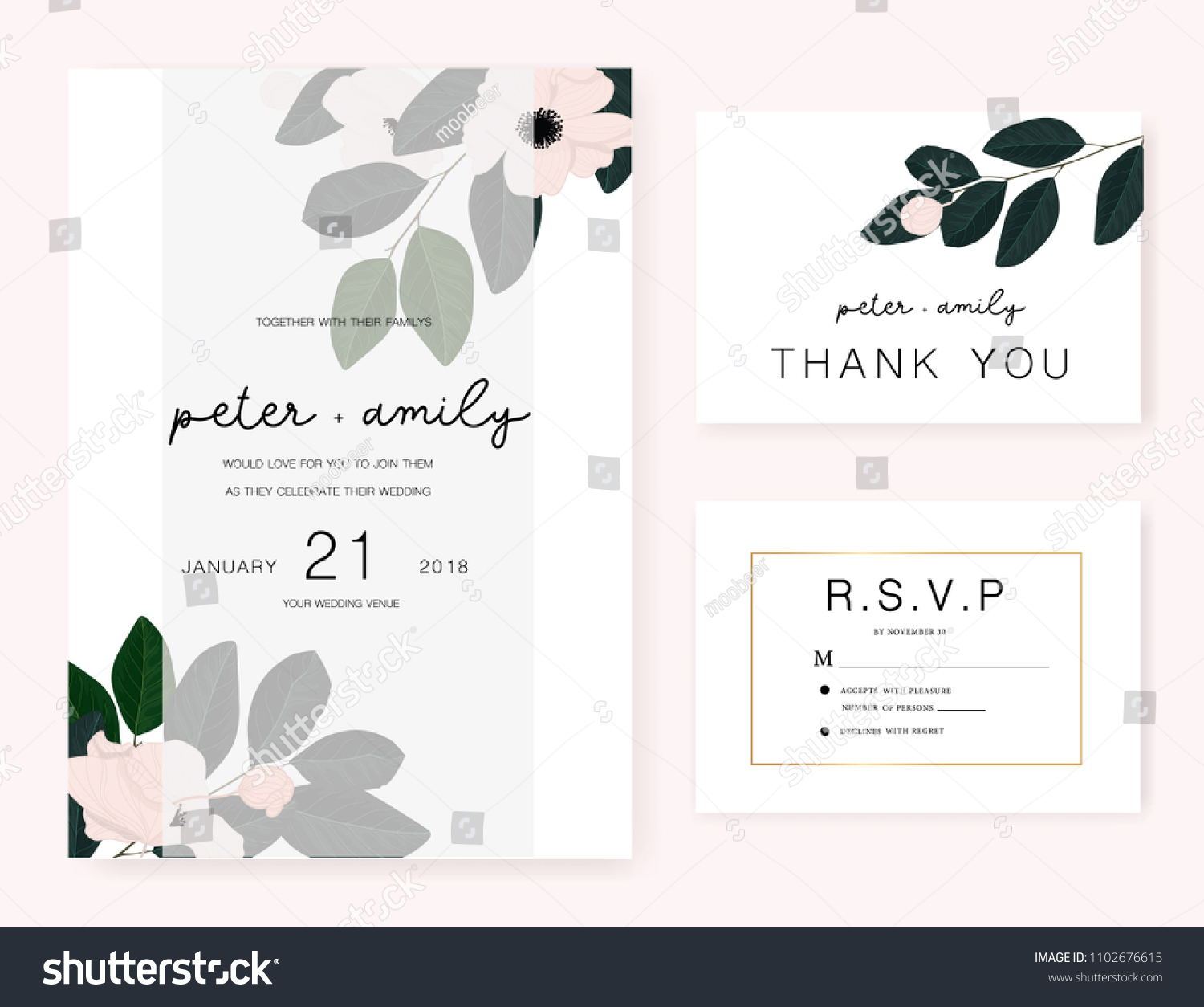 Wedding Invitation Card Text Template Decorate Stock Vector Royalty