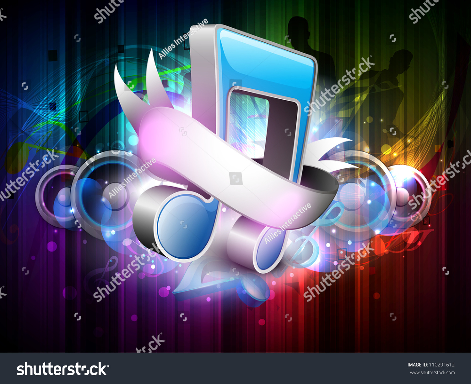 3d Colorful Music Notes Wallpaper: 3d Music Notes With Ribbon On Colorful Grungy Background