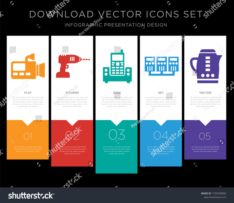 5 Vector Icons Such Video Cameras Stock Photo (Photo, Vector ...