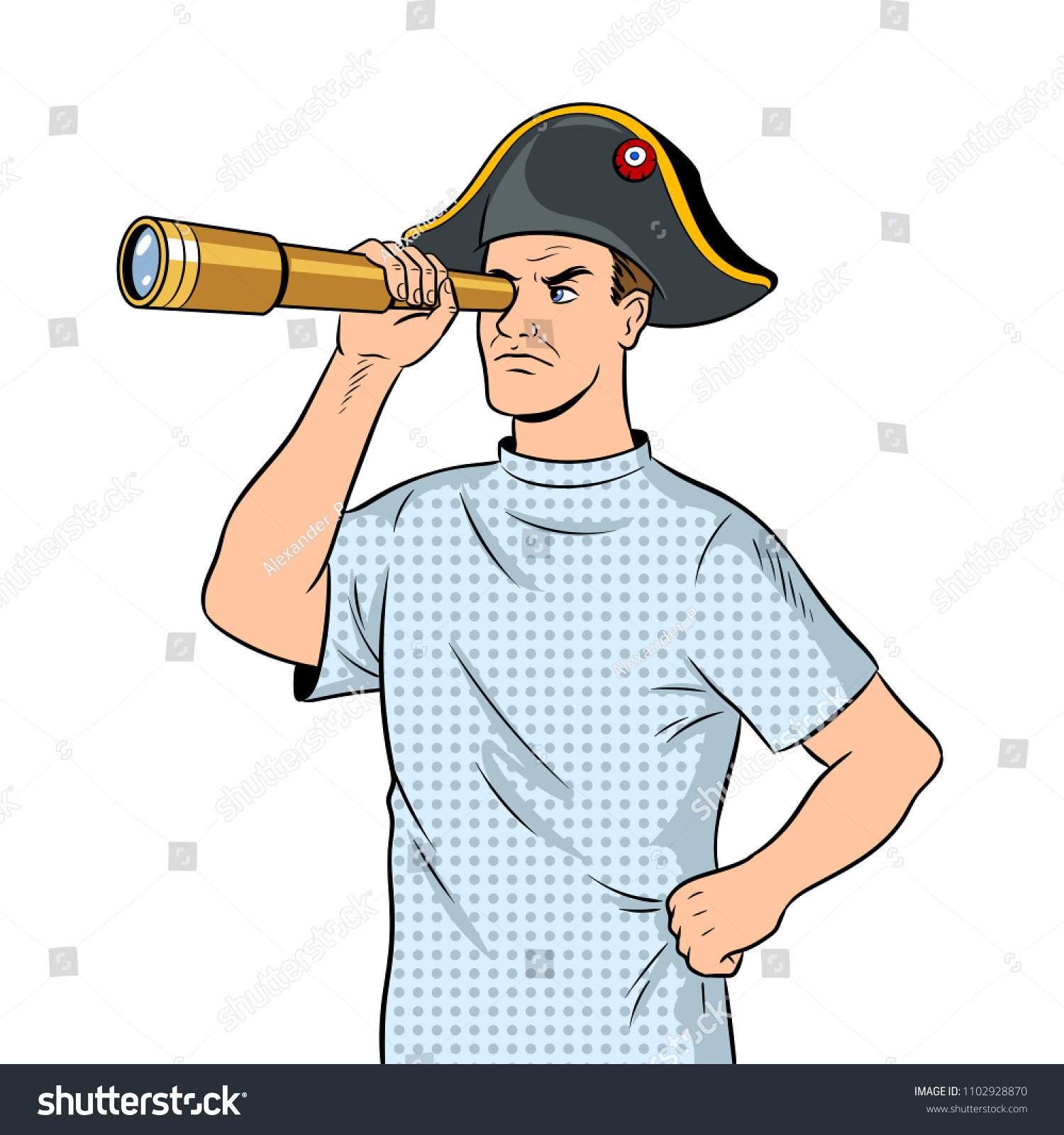 Mentally ill dressed in Napoleon hat with telescope pop art retro raster  illustration. Isolated image d7ace766676