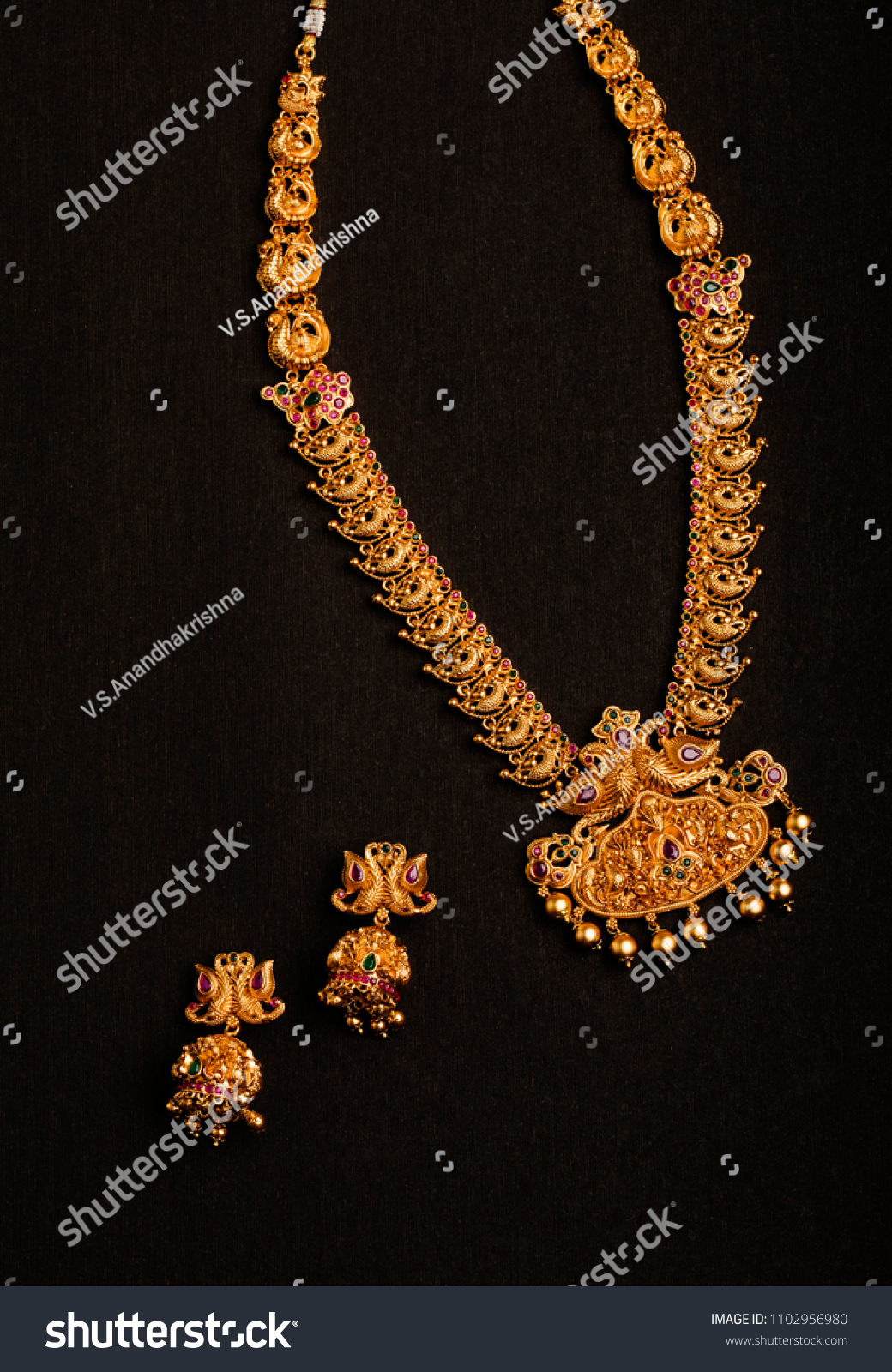 Traditional Indian Gold Necklace Earrings Stock Photo Edit Now