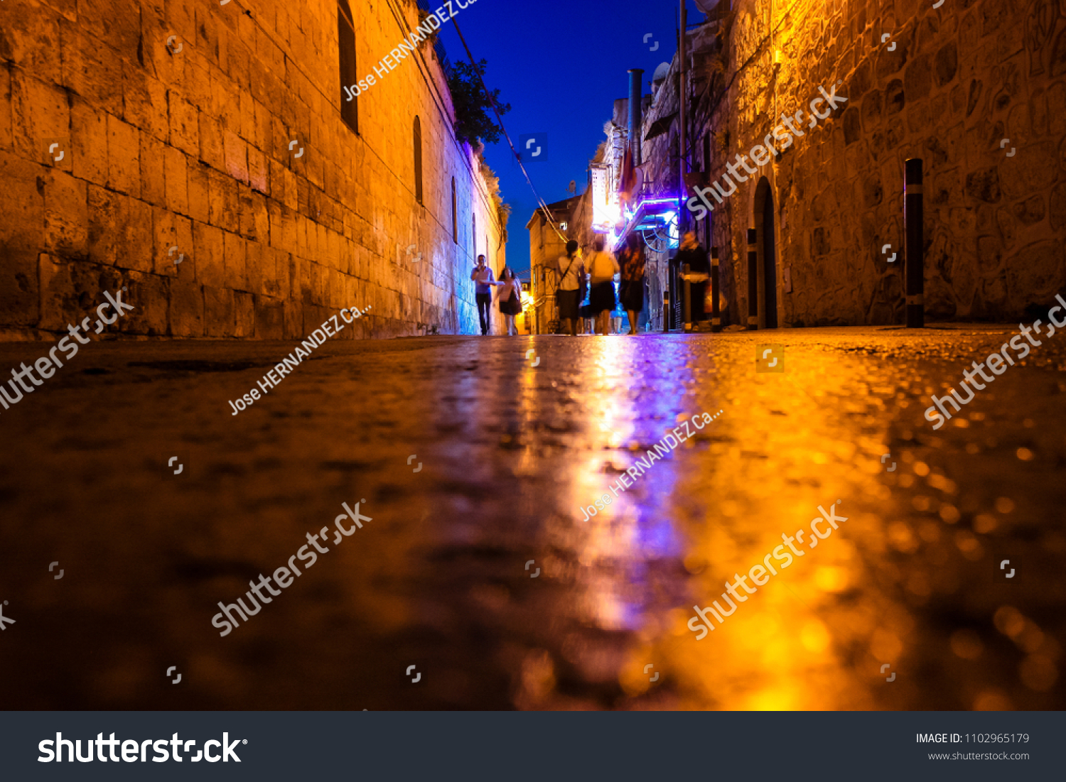 Jerusalem Israel May 31, 2018 View of the street of the old city of Jerusalem from the ground in the night
