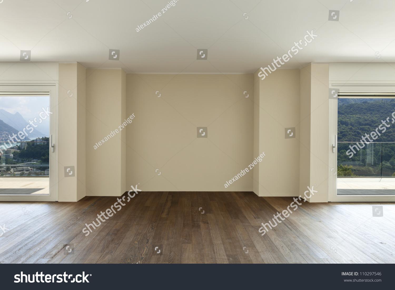 modern interior wide empty apartment windows stock photo 110297546 shutterstock. Black Bedroom Furniture Sets. Home Design Ideas