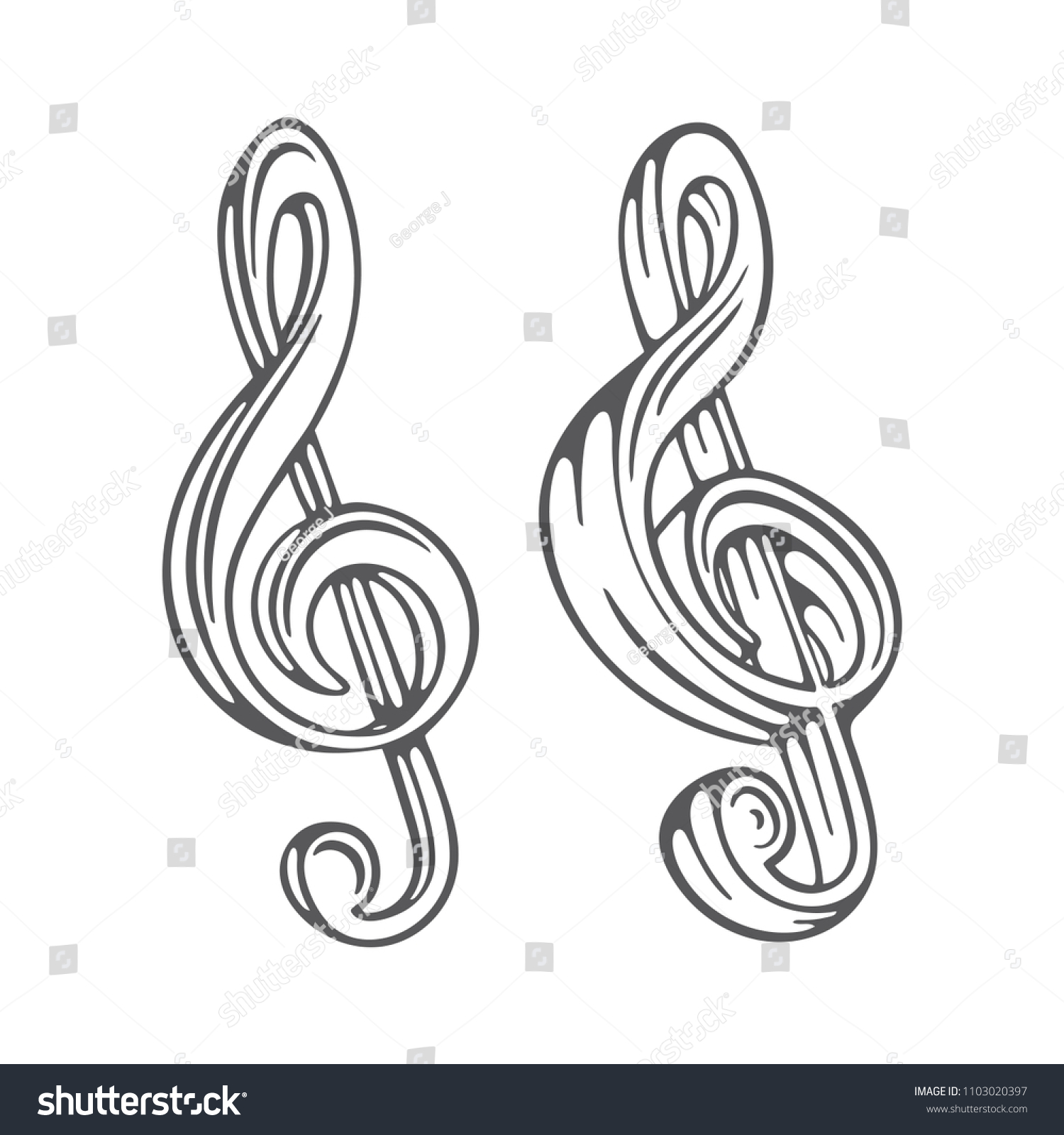 Music Key Music Note Hand Drawn Stock Vector Royalty Free