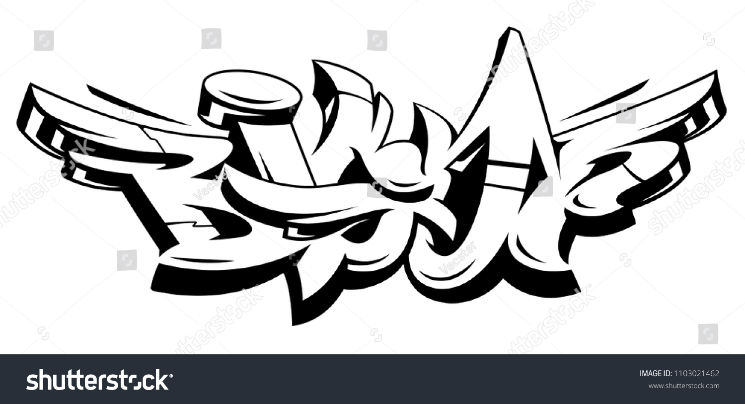 Big up vector lettering isolated on white monochrome dynamic wild style graffiti art three