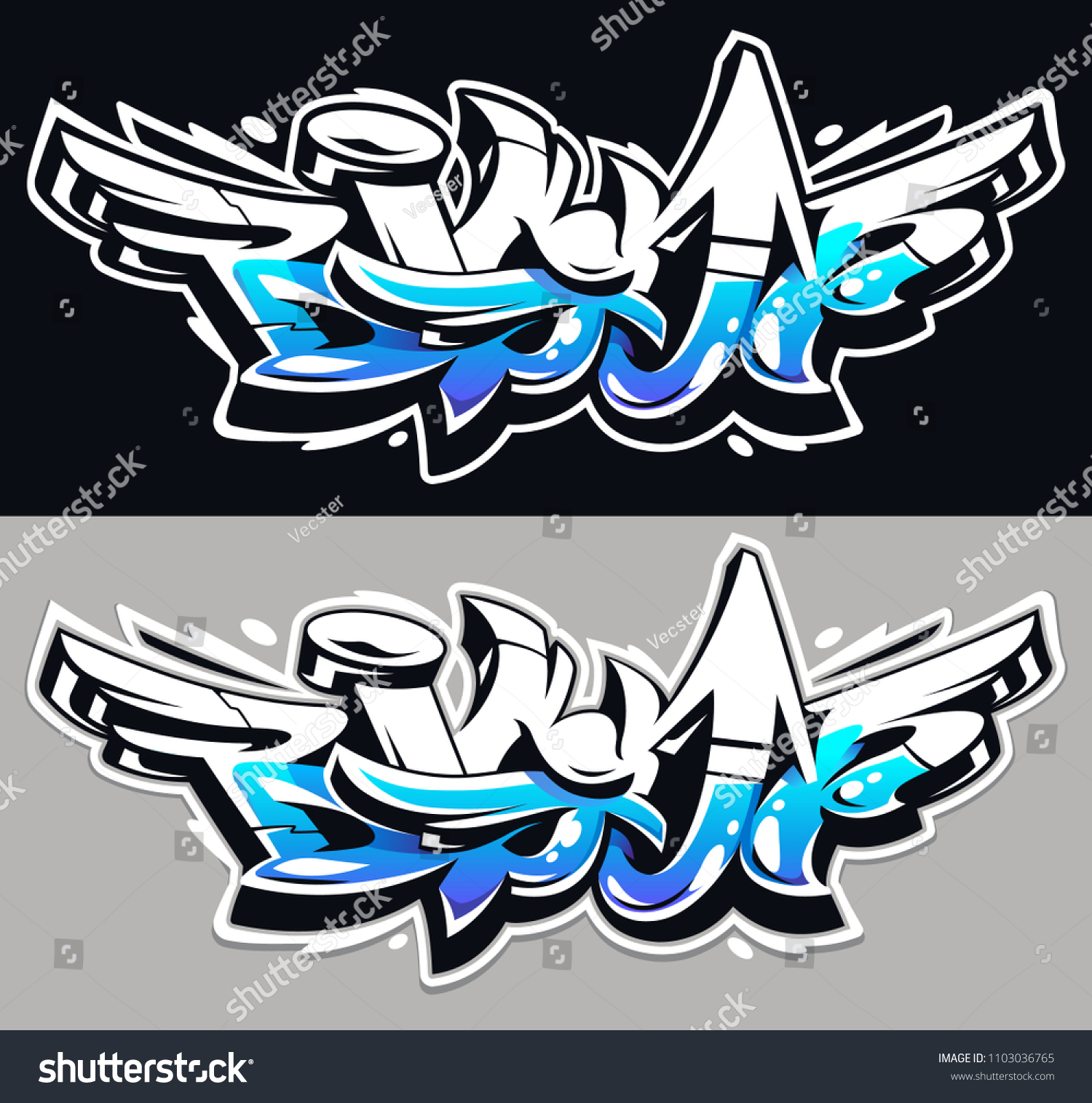 Big up blue color vector lettering on grey and black backgrounds dynamic wild style graffiti