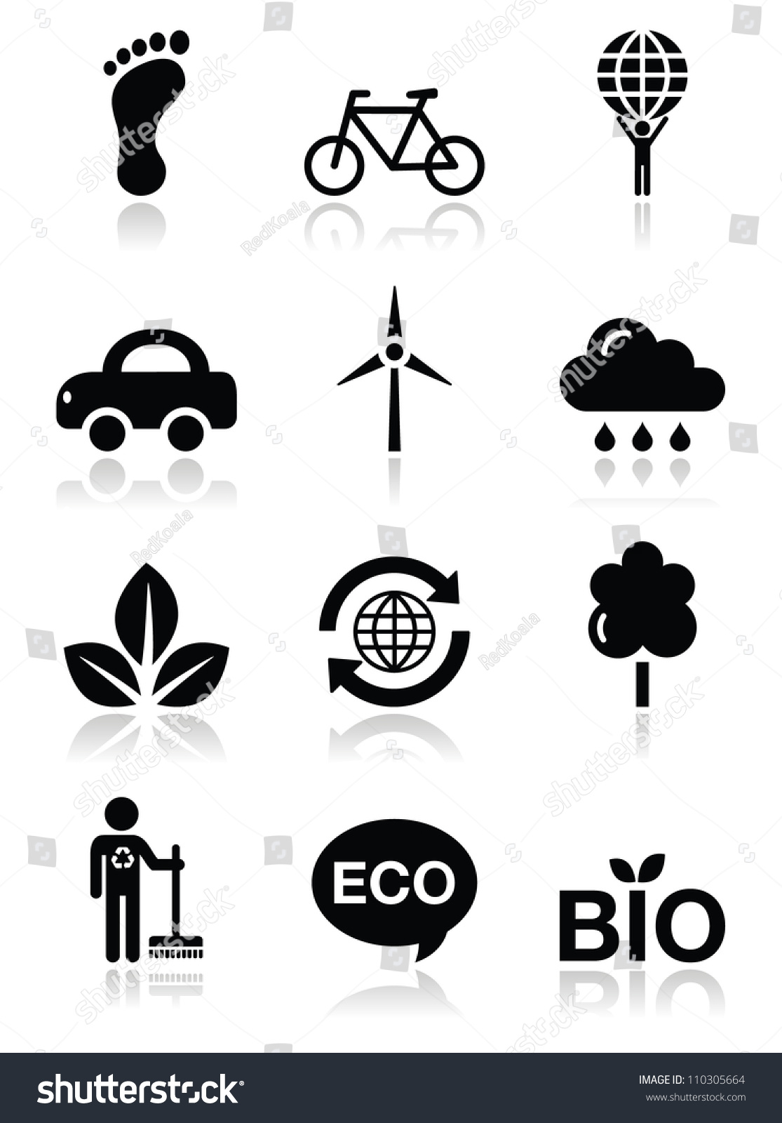 Green Ecology Black Clean Icons Set Stock Vector 110305664 ...