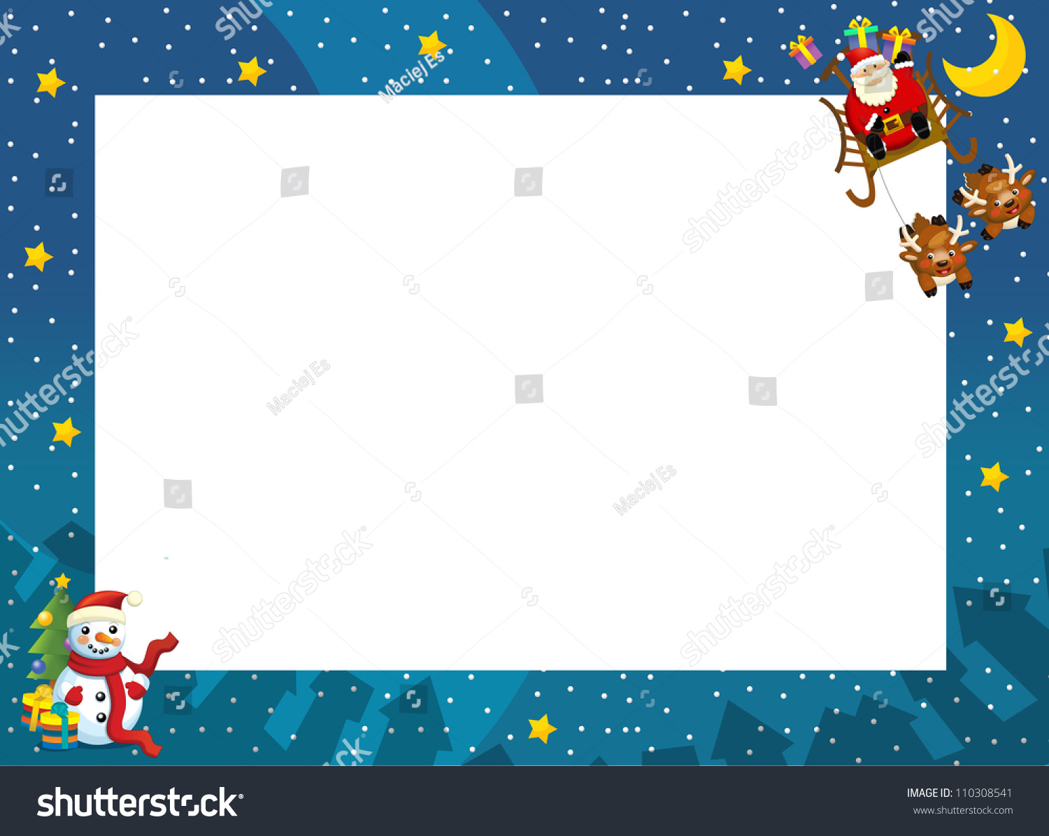Christmas Border Santa On Sledge Square Stock Illustration ...