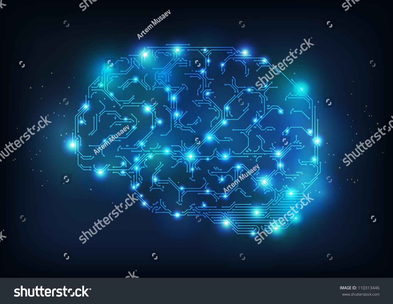 hi tech brain made electric lines stock vector 110313446 shutterstock. Black Bedroom Furniture Sets. Home Design Ideas