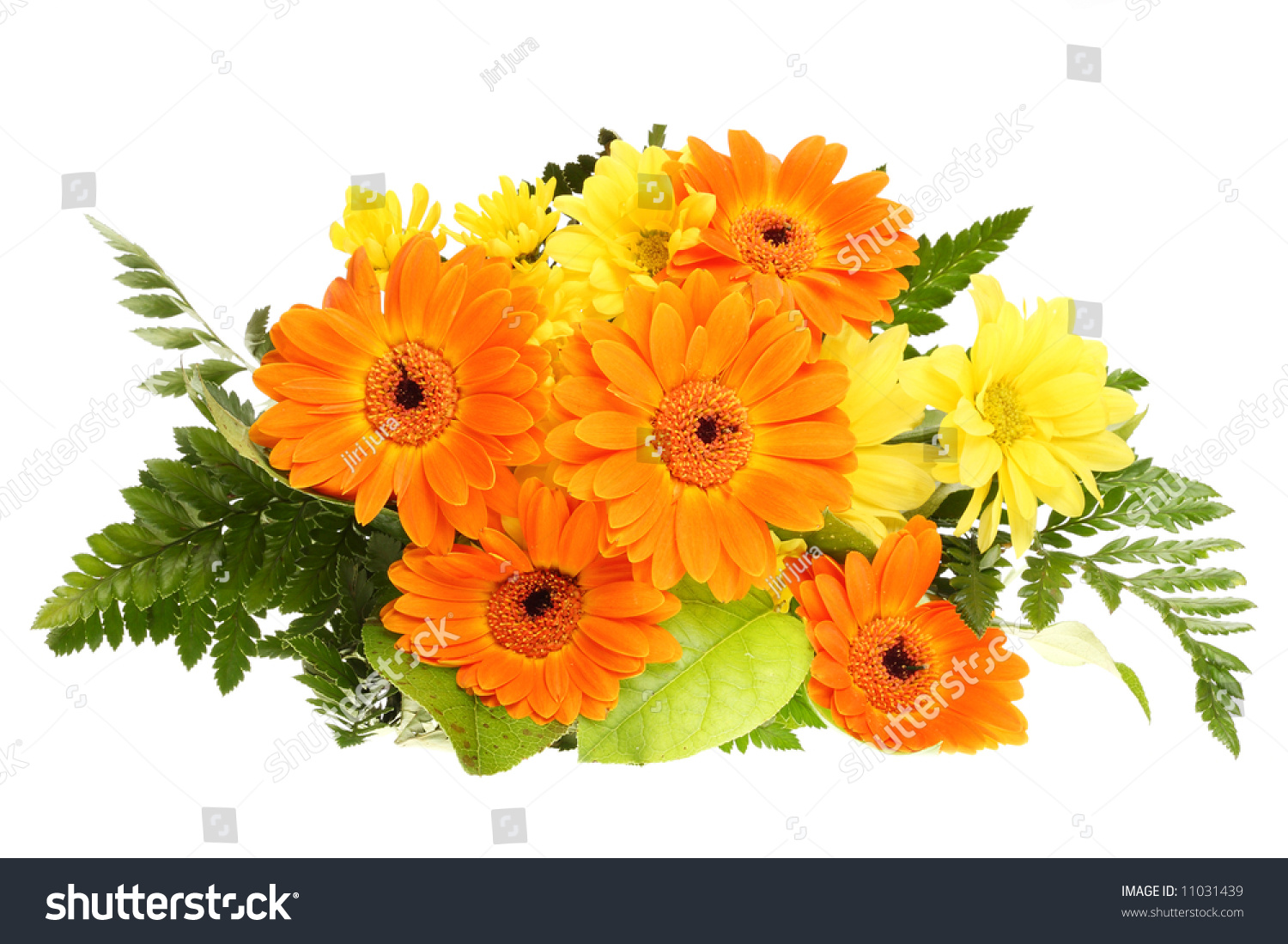 Bunch Bouquet Flower Bloom Orange Yellow Green Leaf Wedding Nature