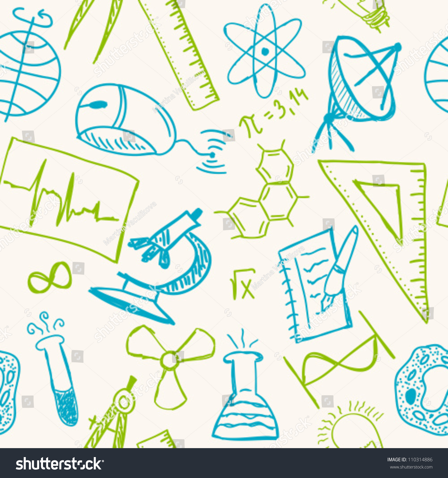 Science Drawings On Seamless Pattern Scientific Stock Vector ...