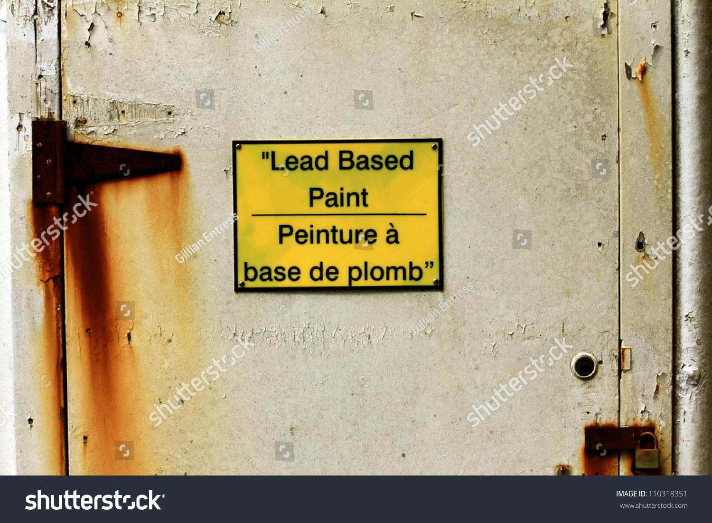 Bilingual Sign Warning Lead Based Paint Stock Photo