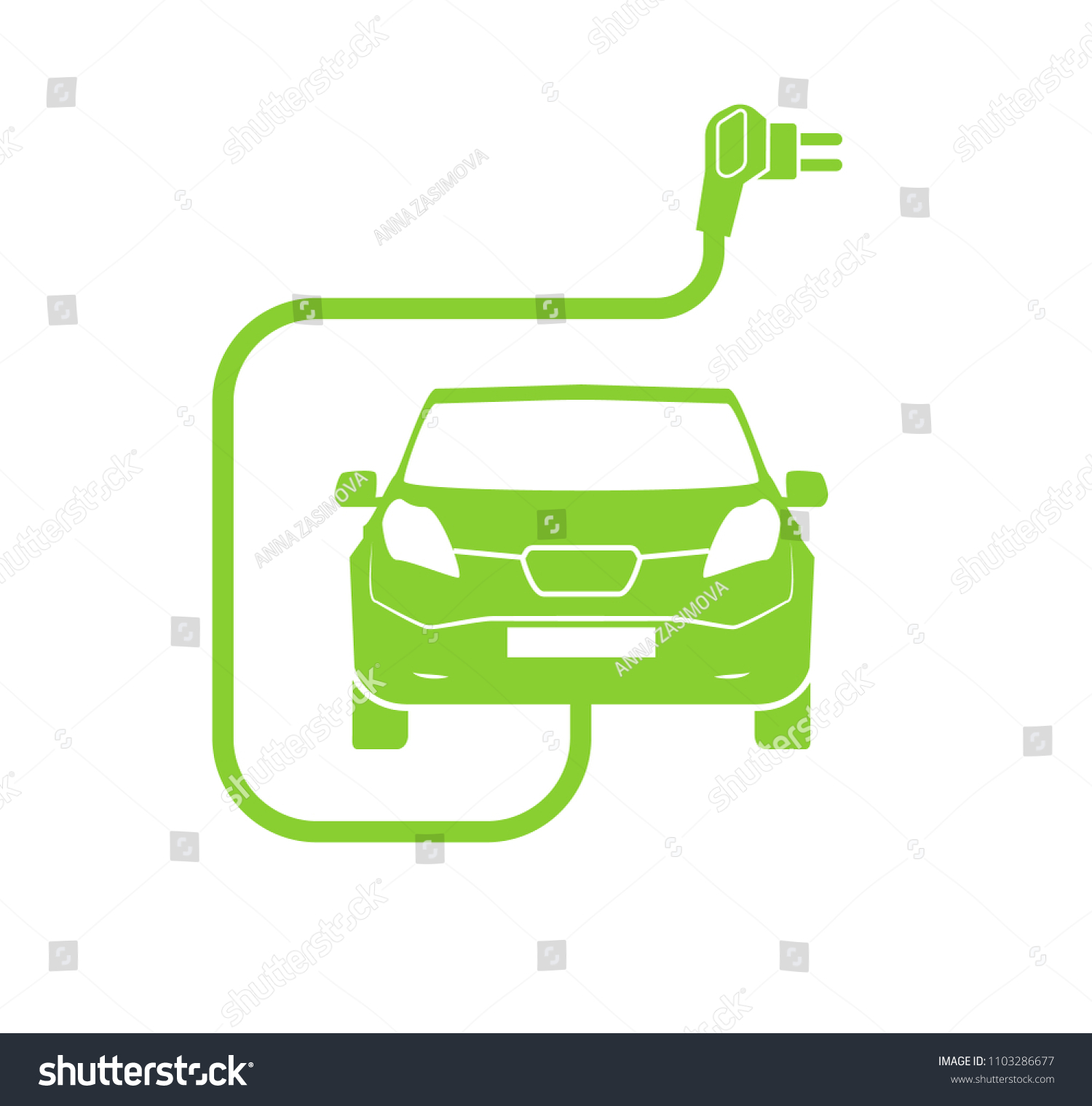Electrical Charging Station Symbol Electric Car Stock Vector Charger Diagram Icon Isolated Vehicle Green