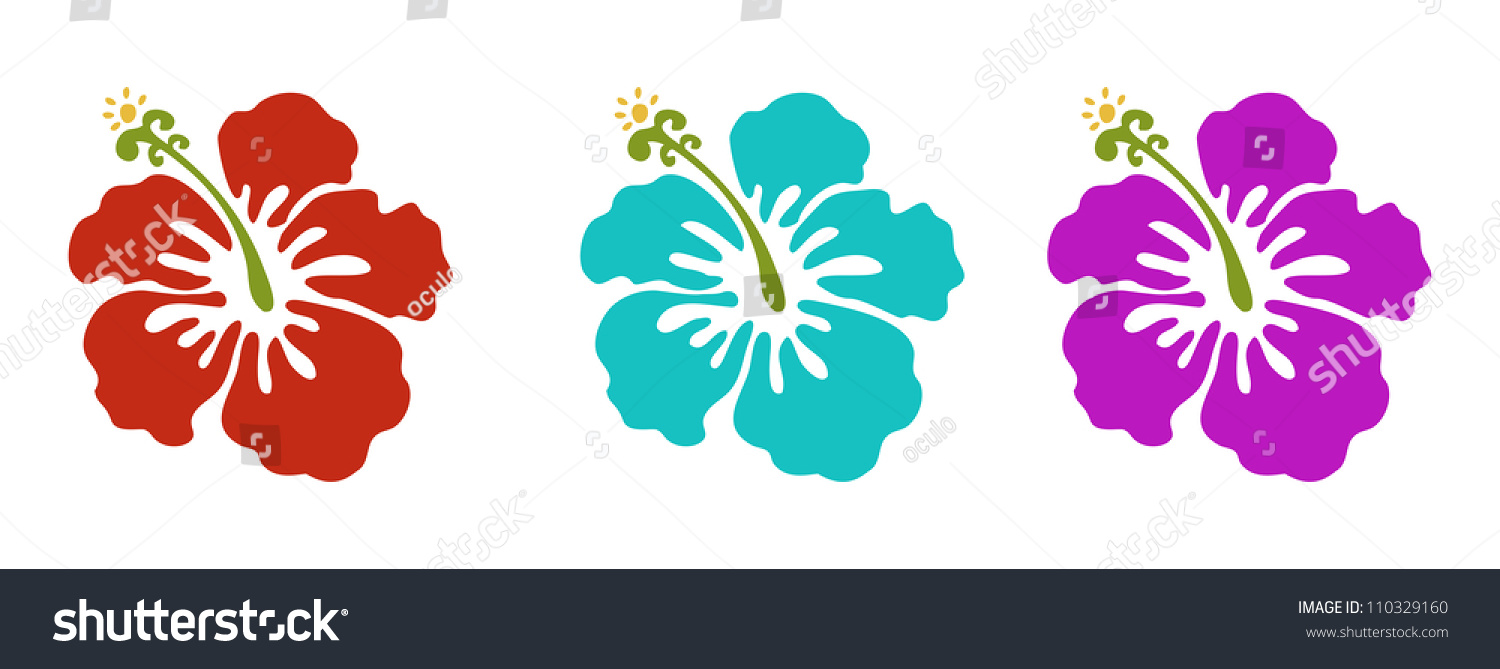 Hawaiian Flowers Set Red Green Purple Stock Vector Royalty Free