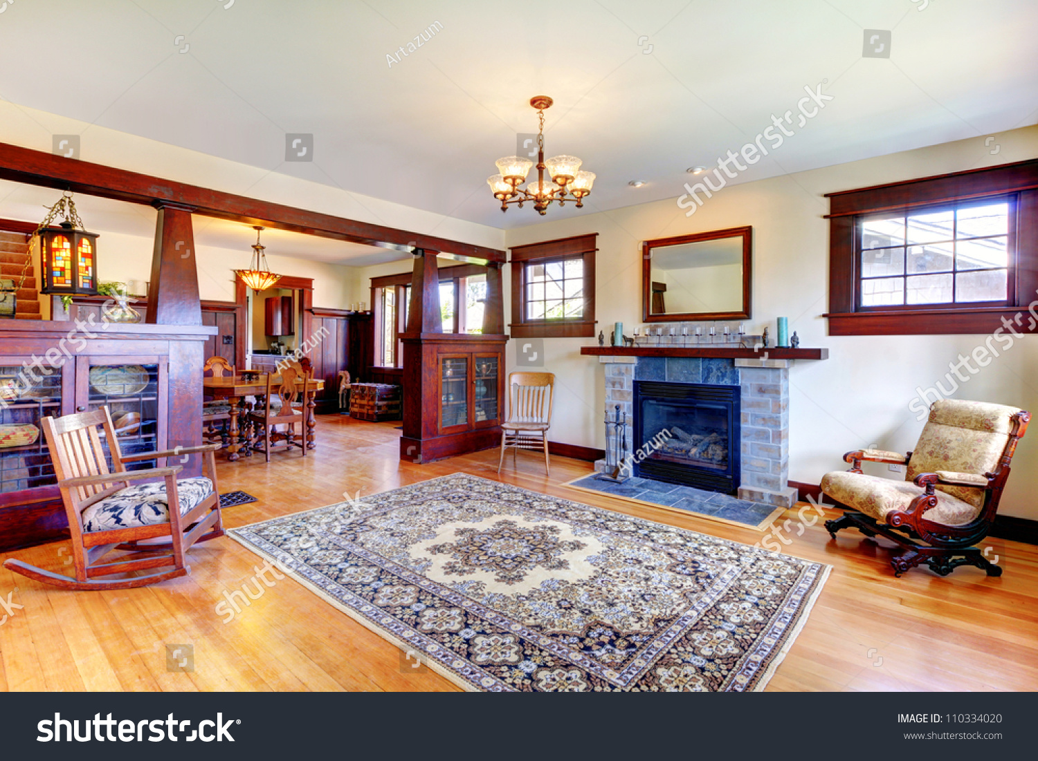 Craftsman style bathroom lighting - Stunning Beautiful Old Craftsman Style Home Living Stock Photo With Craftsman Style Fireplace