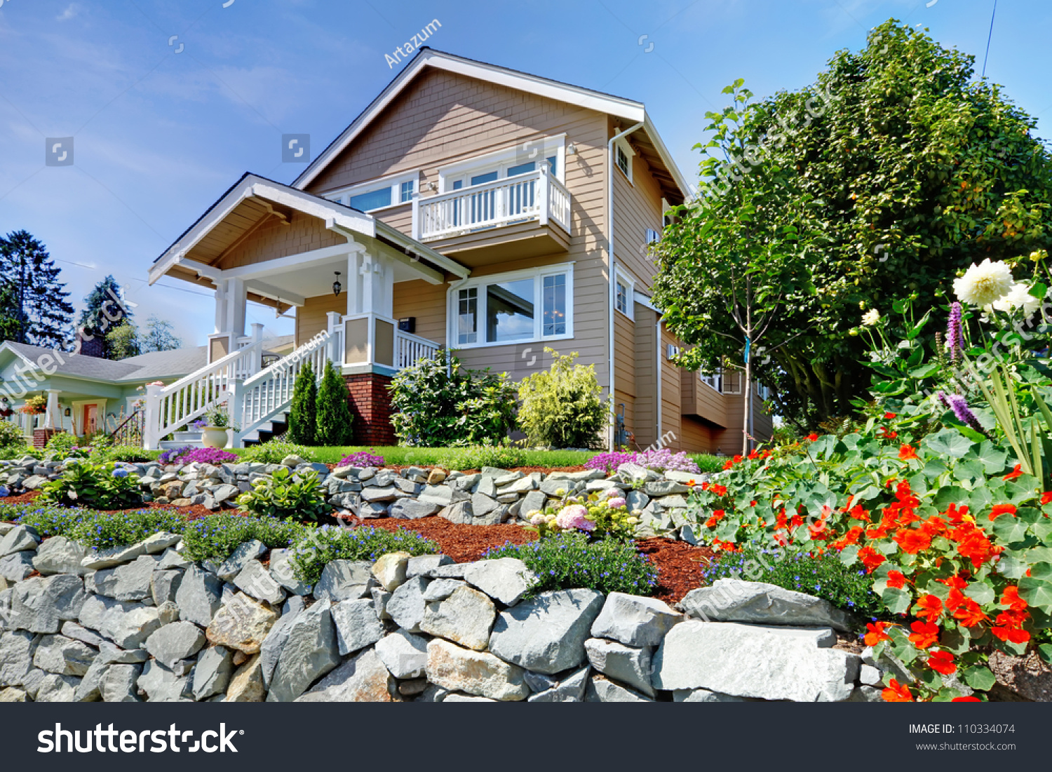 Two story beige nice house on stock photo 110334074 for Nice home image