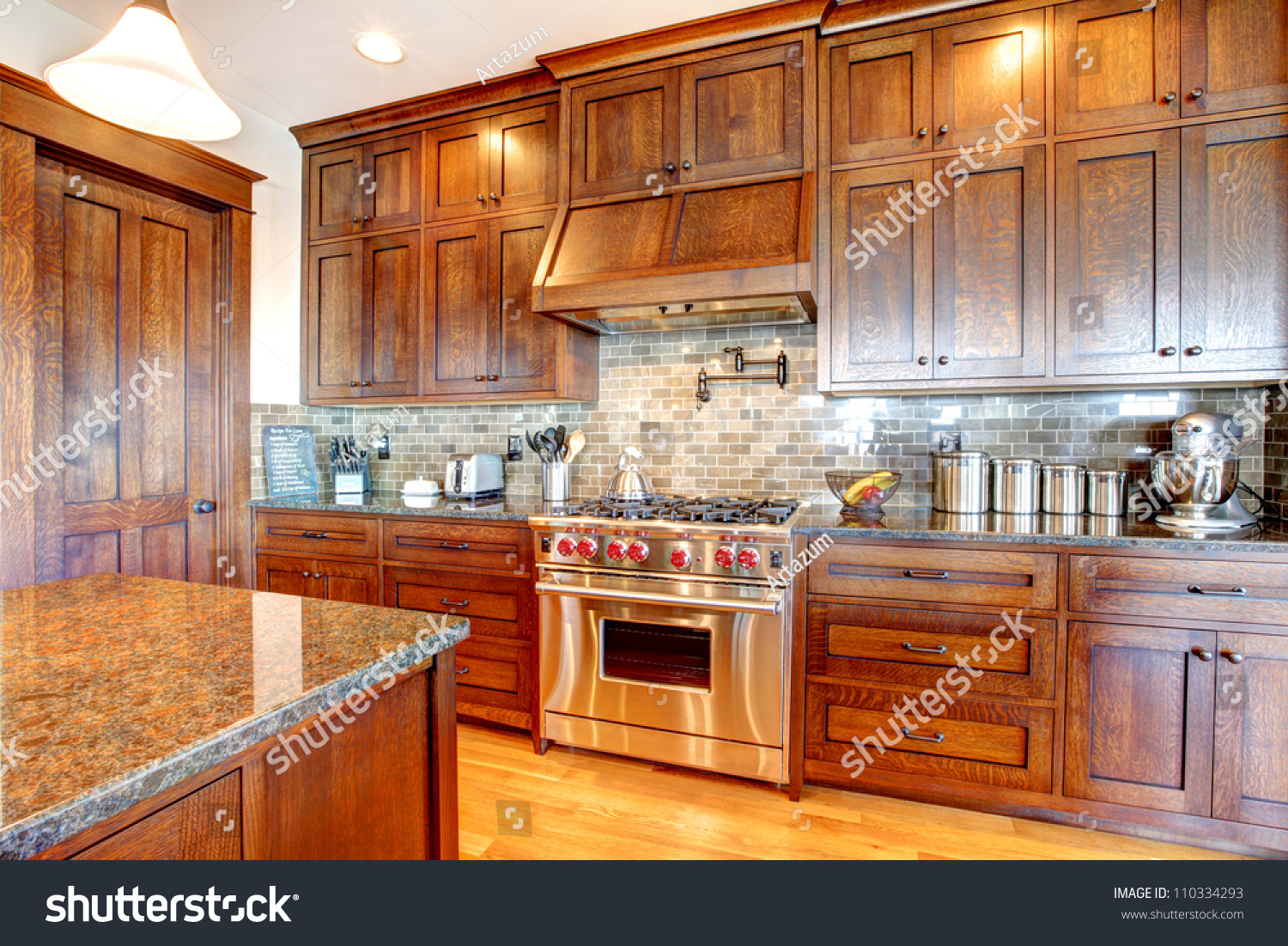 Kitchen And Granite Luxury Pine Wood Beautiful Custom Kitchen Stock Photo 110334293