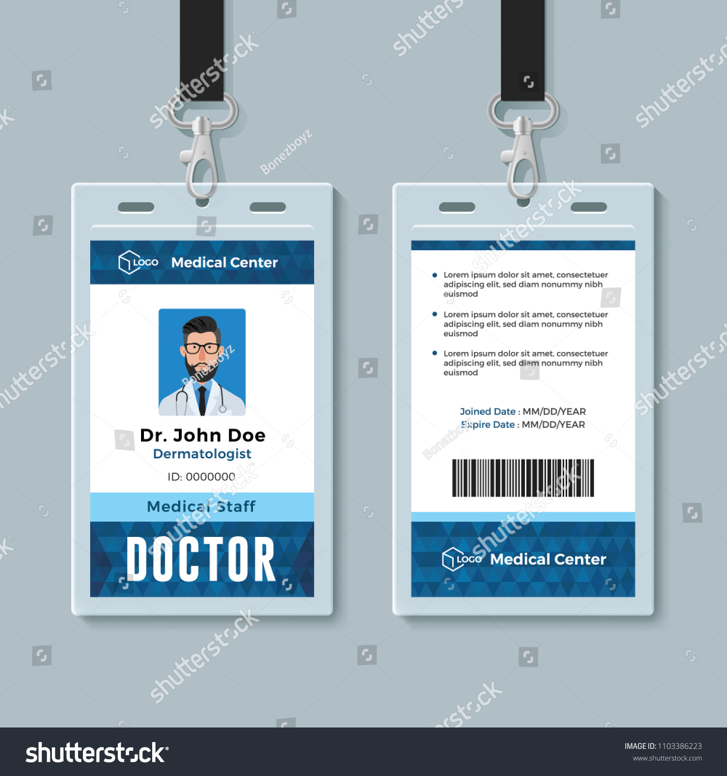 doctor id card medical identity badge stock vector royalty free
