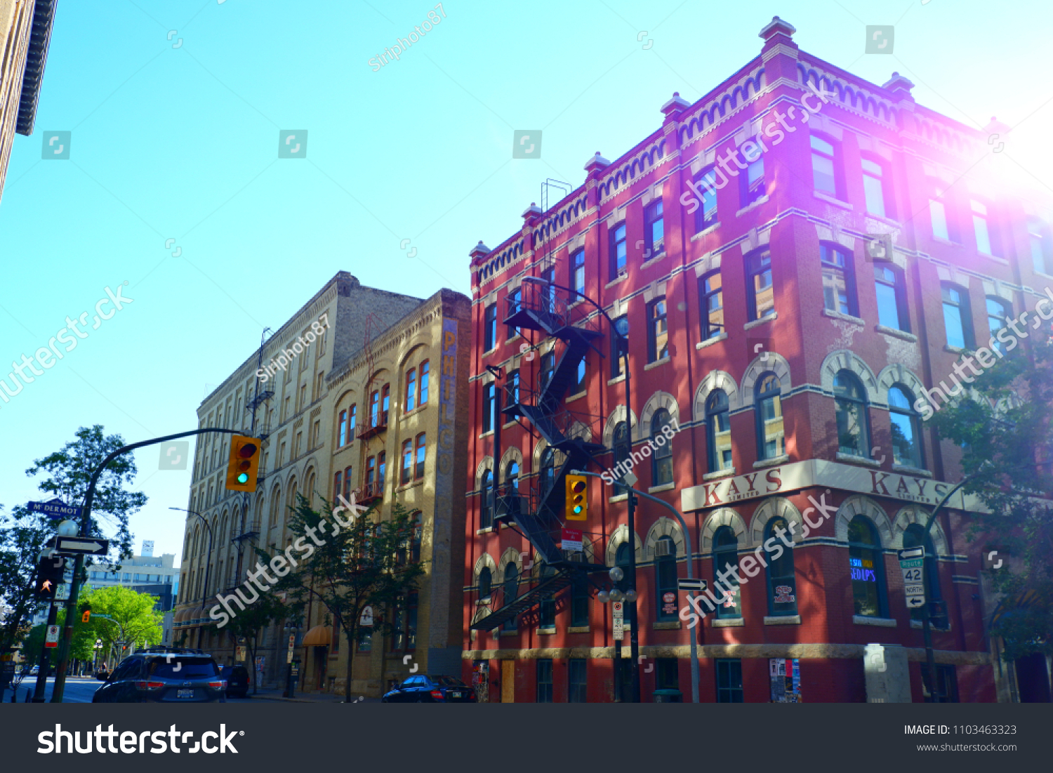 Outstanding of beautiful architecture of building at downtown Winnipeg  during summer. Winnipeg Manitoba Canada.