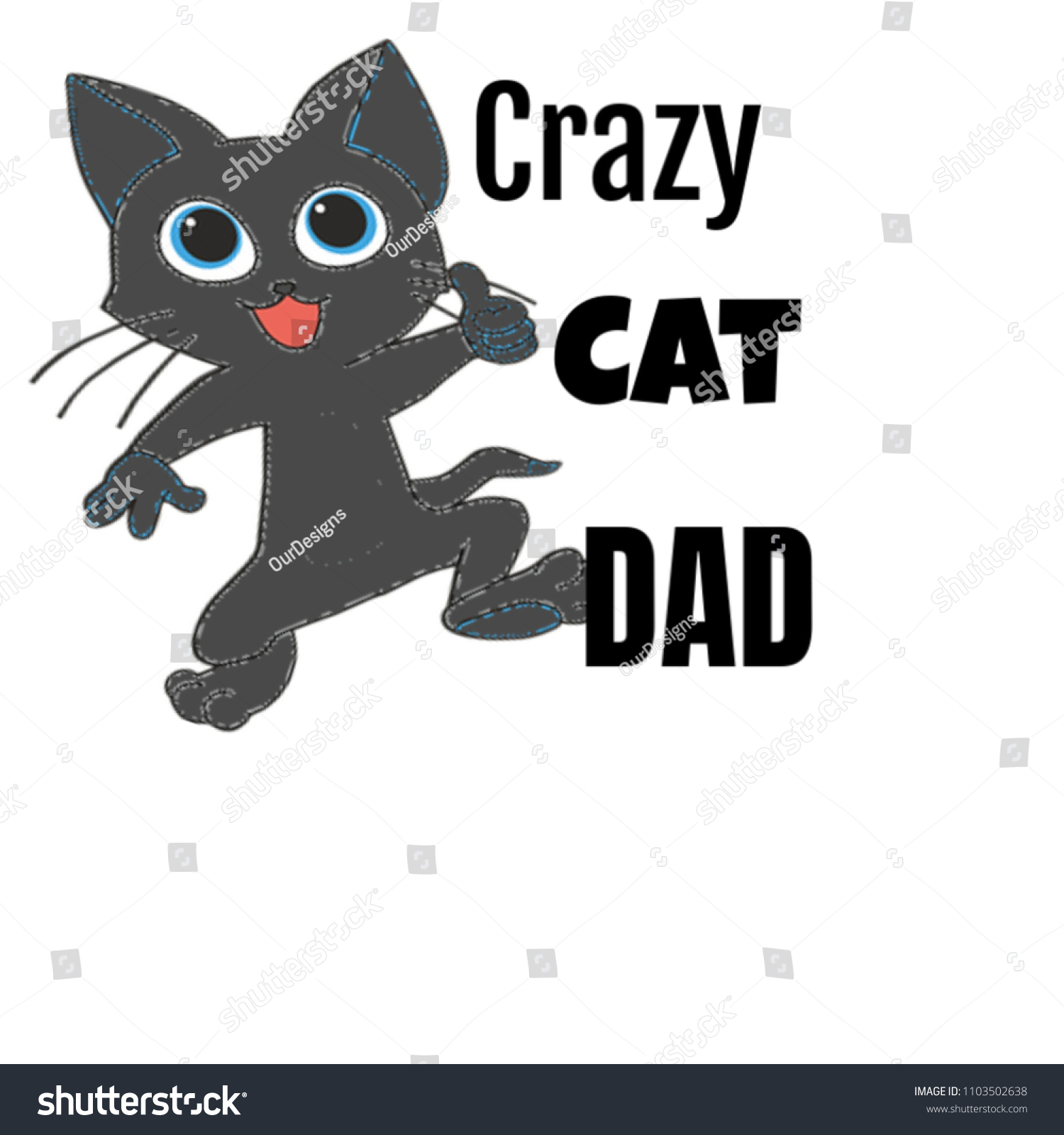 crazy cat dad gifts daddy fathers stock illustration 1103502638