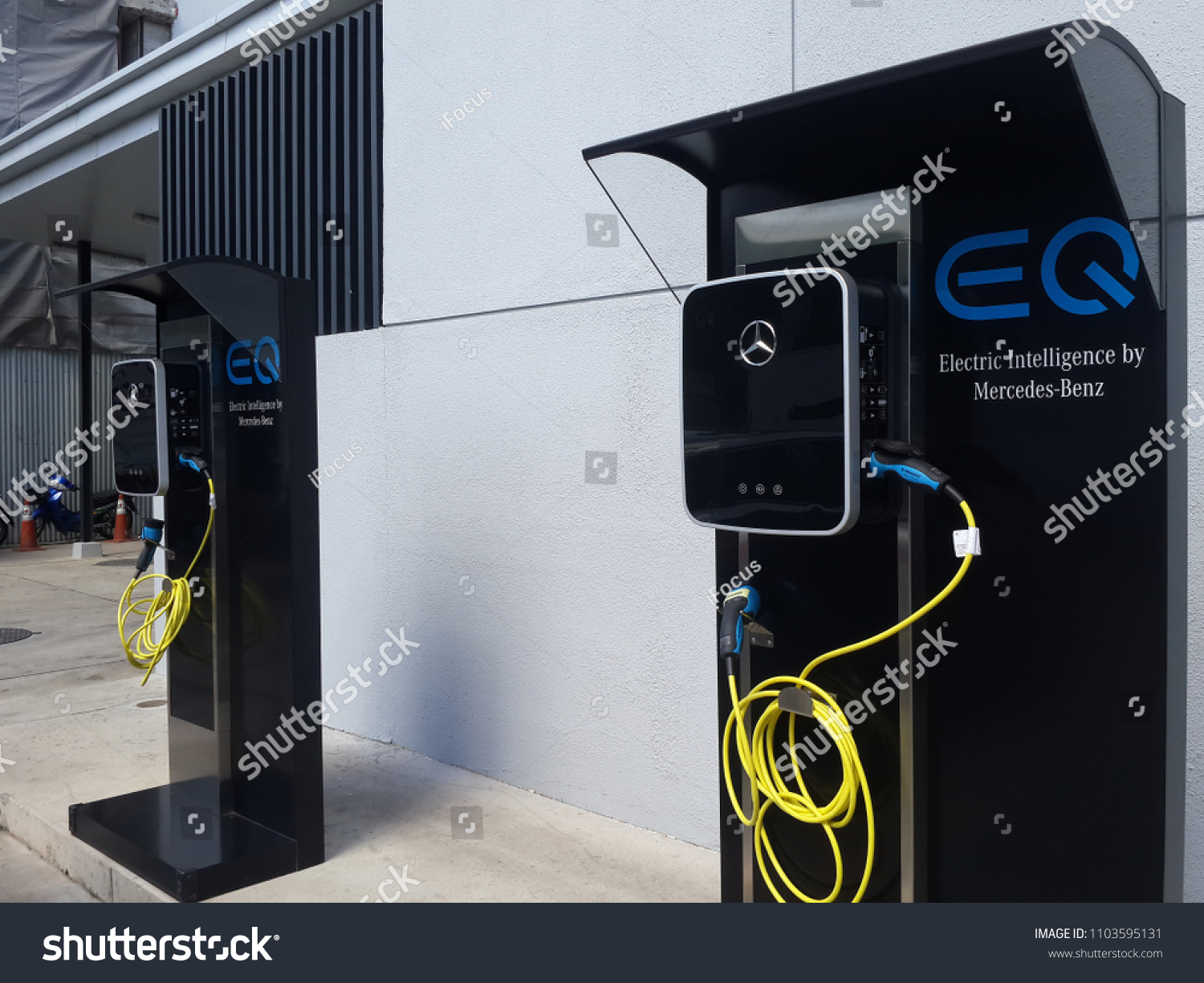 PAKKRET, NONTHABURI, THAILAND - JUNE 2, 2018: A Wallbox charging station tailored to Mercedes-Benz EQ vehicles is available outside a store on June 2, 2018 in Pakkret, Nonthaburi, Thailand.