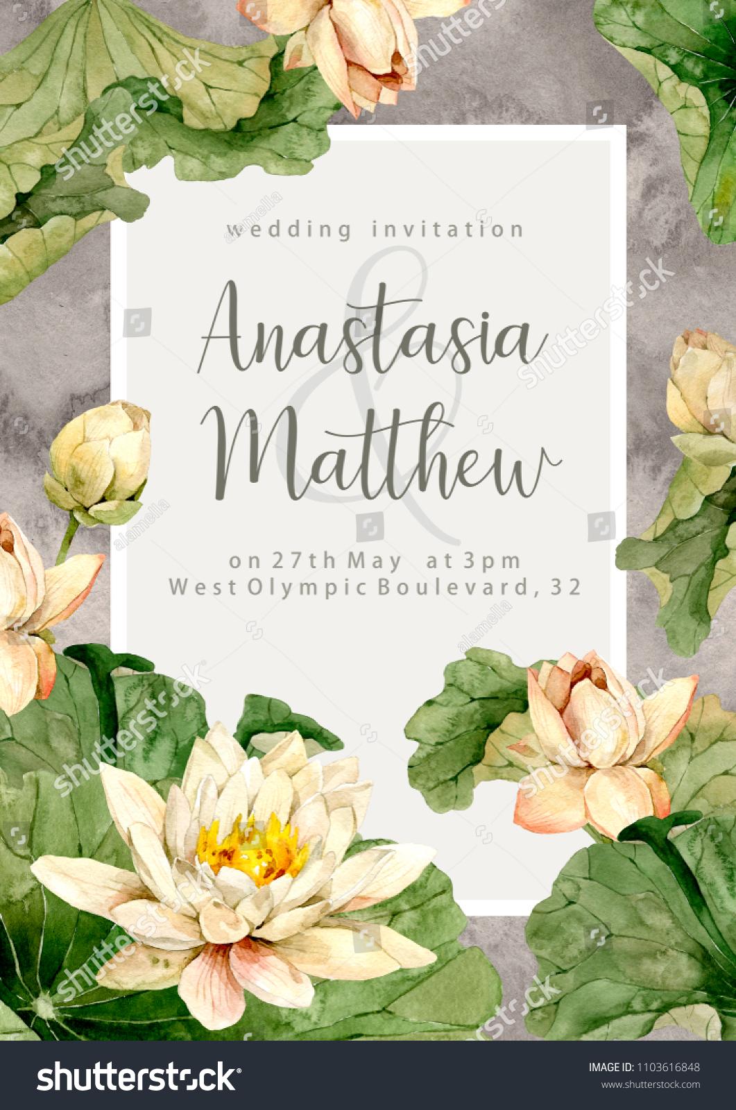 Hand Drawn Watercolor Wedding Invitation Lotus Stock Illustration