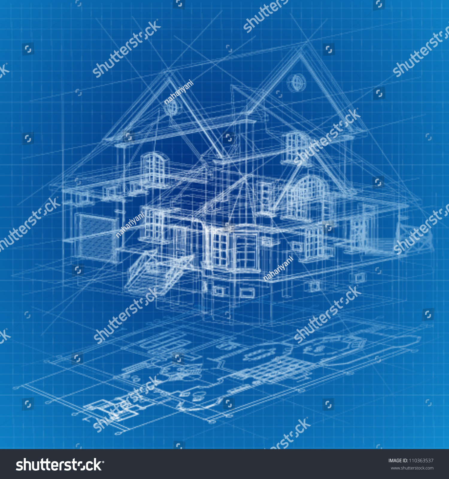 Stock Vector Architectural Background With A D Building Model Vector Clip Art 110363537 Architectural Background 3d Building