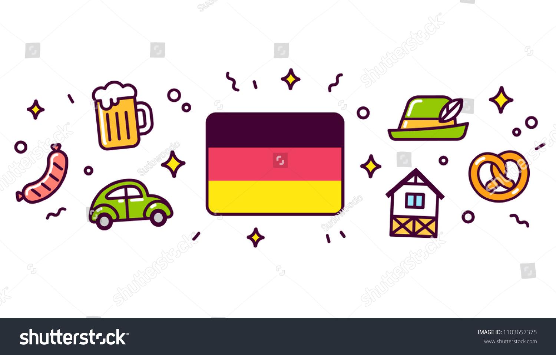 Germany Banner Design Elements German Flag Stock Illustration