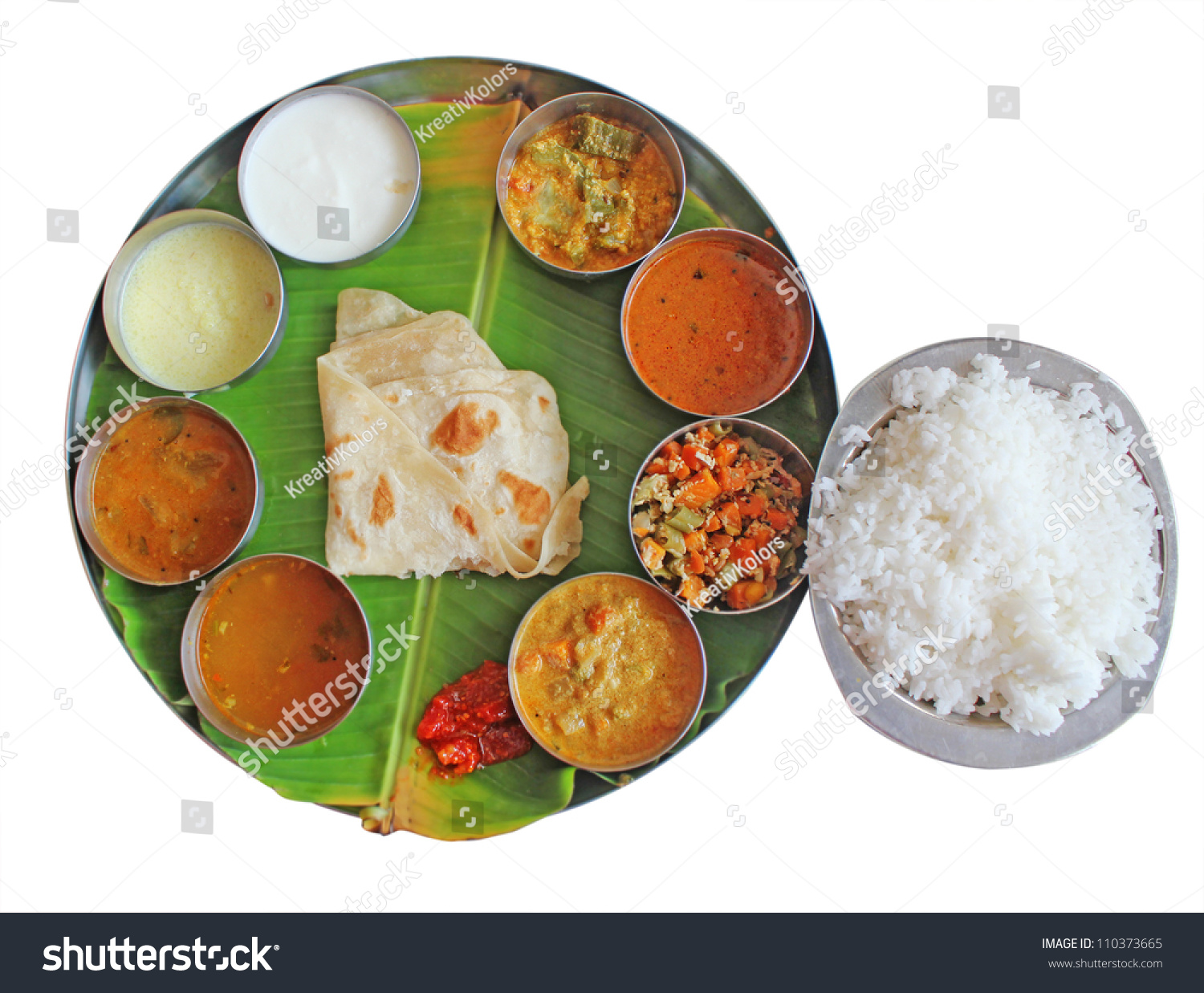South indian plate meals on banana stock photo 110373665 for Art of indian cuisine