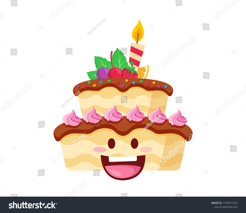 Happy Cute Delicious Birthday Cake Cartoon Stock Vector Royalty Free 1103751473