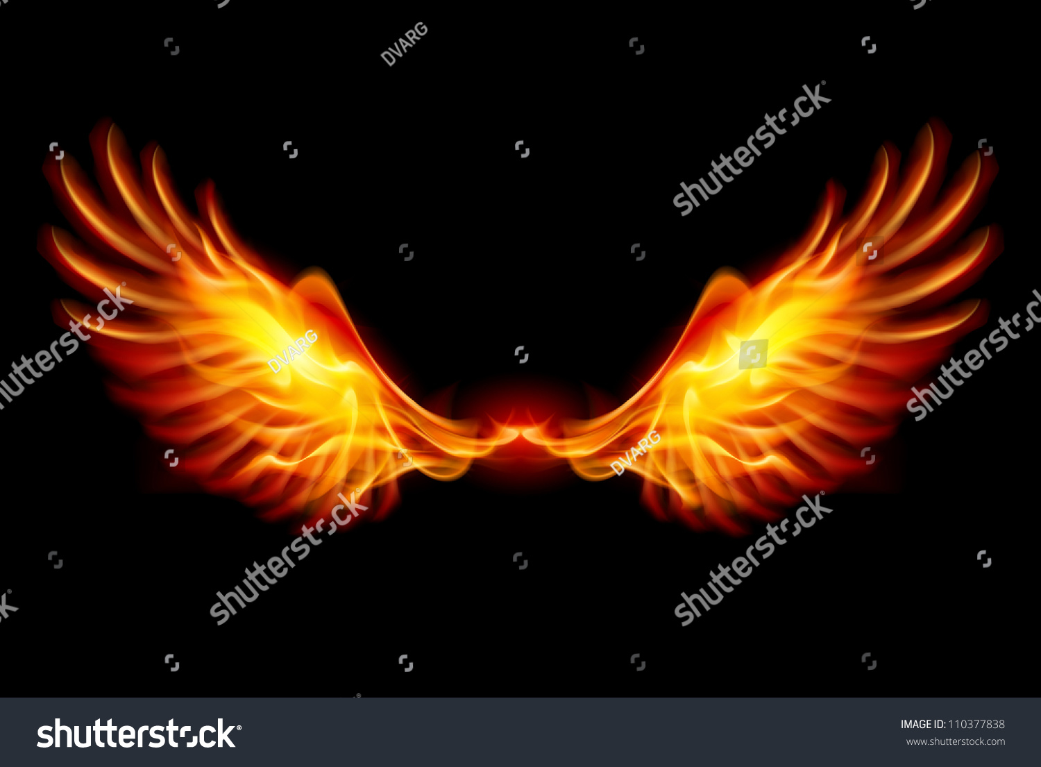 wings flame fire illustration on black stock vector
