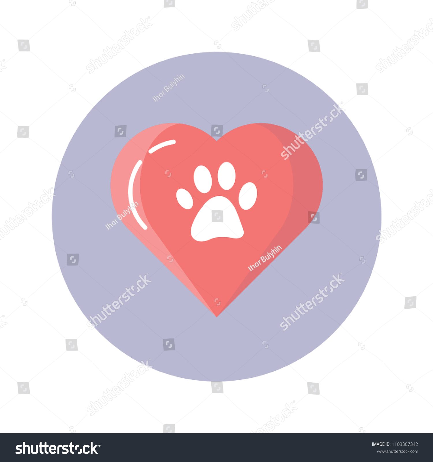 Cute Animal Paw Print Pink Heart Stock Vector Royalty Free