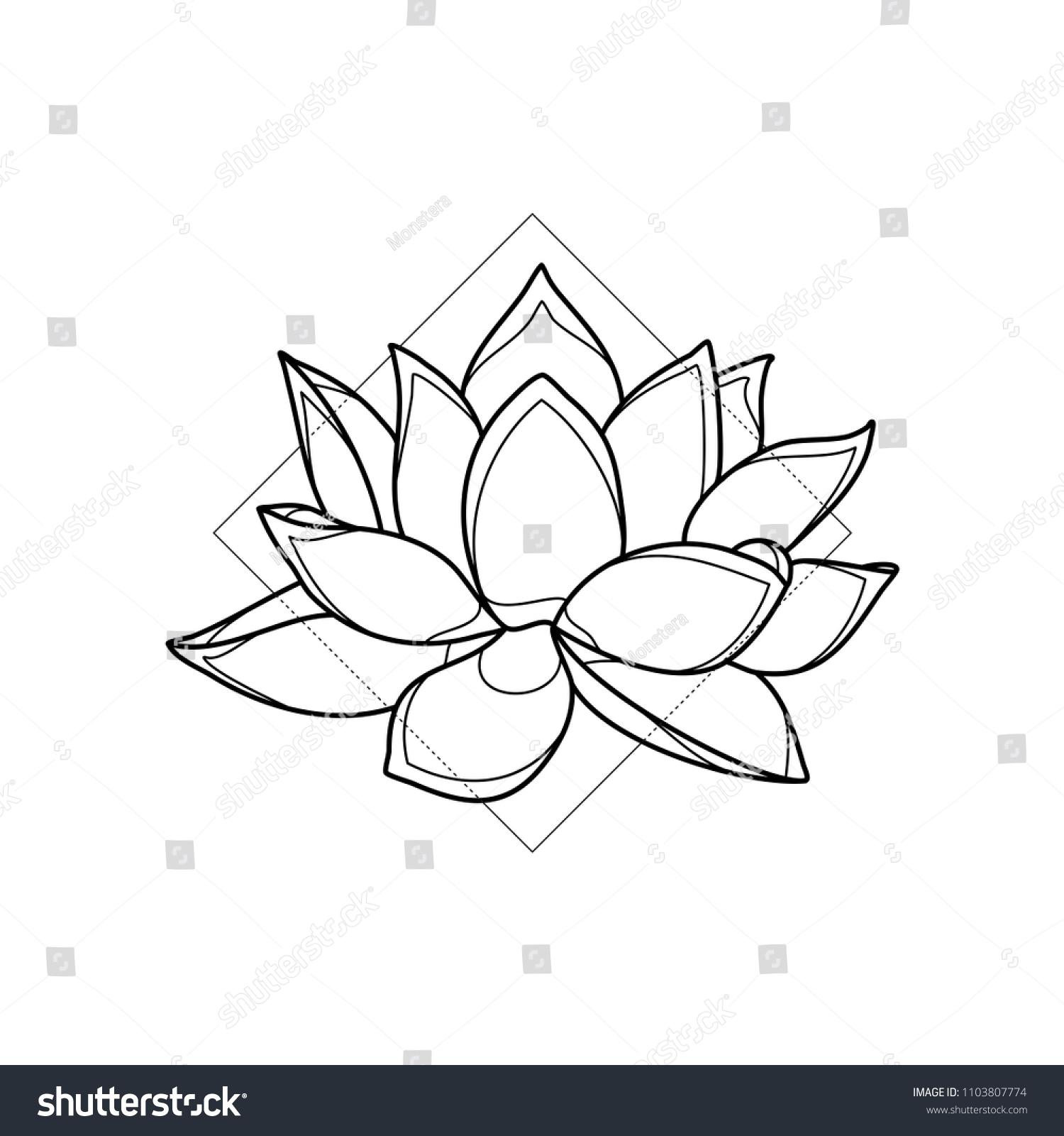 Exotic Lotus Flower Geometric Background Simple Stock Vector