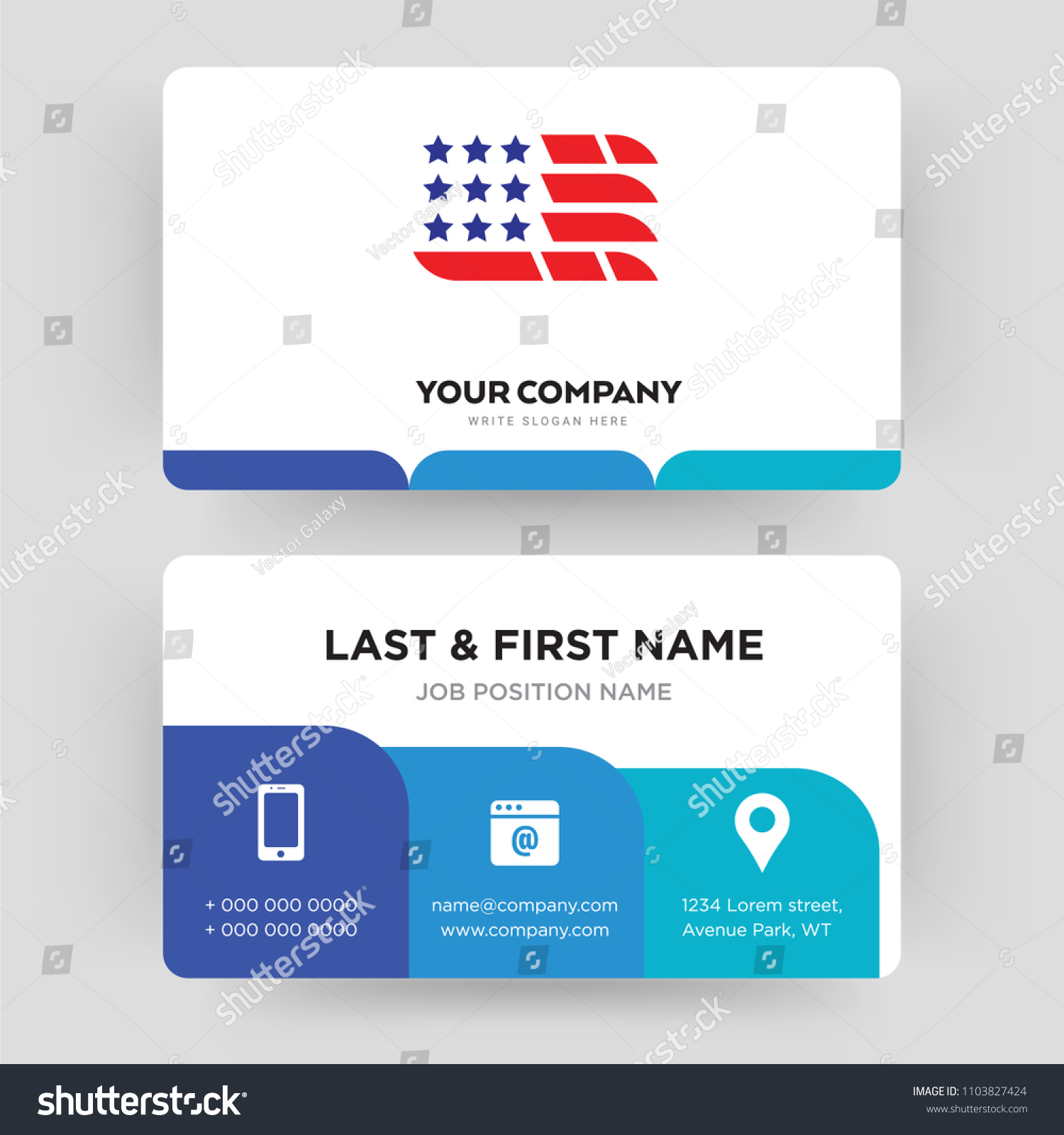 American Flag Business Card Design Template Stock Vector 1103827424 ...