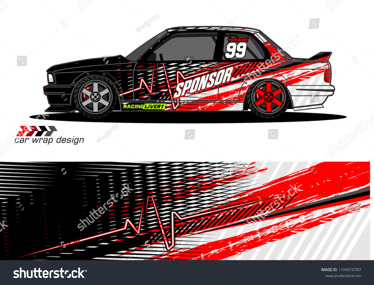 Race Car Livery Graphic Vector Designs Stock Vector (Royalty