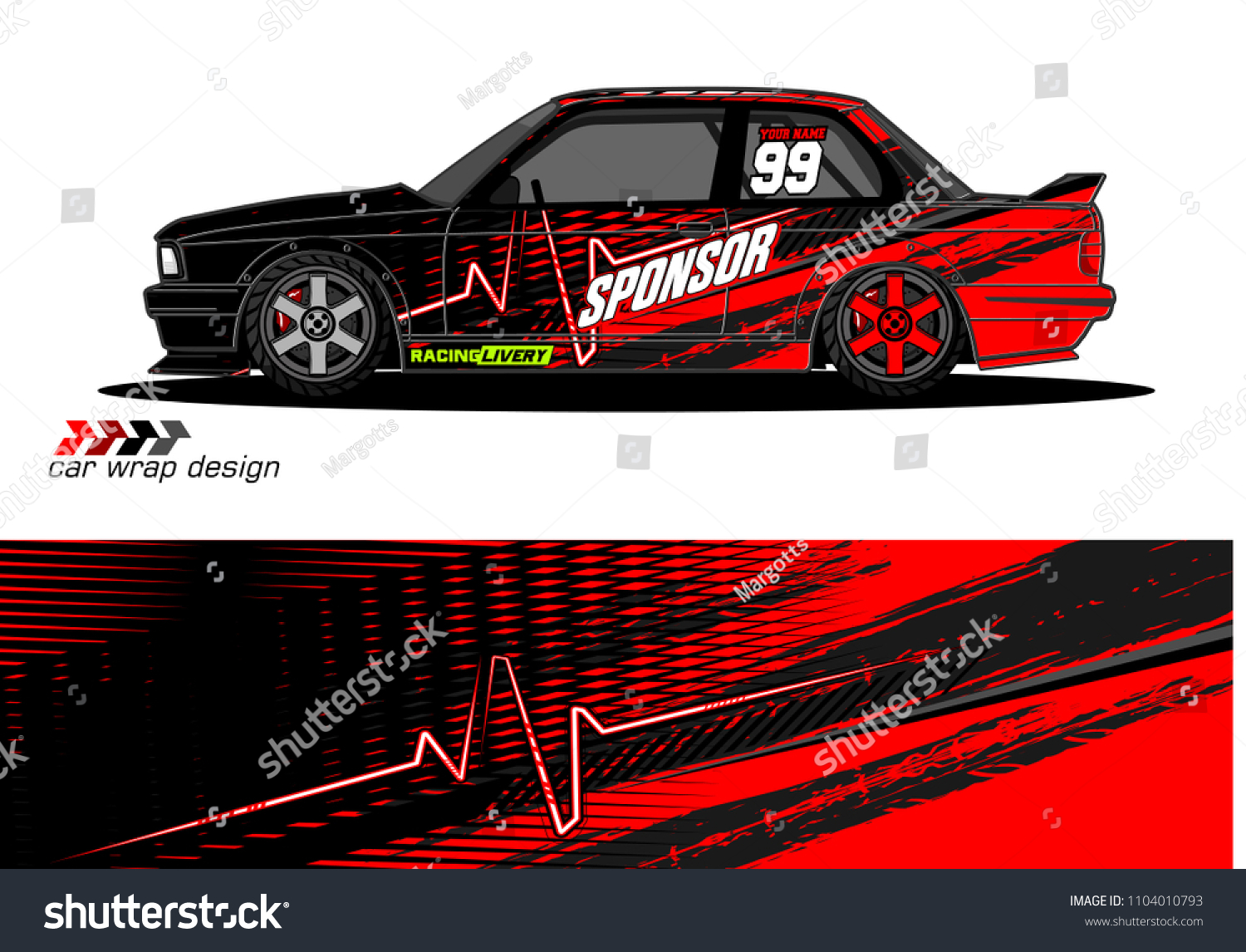 Race Car Livery Graphic Vector Designs Stock Vector Royalty Free