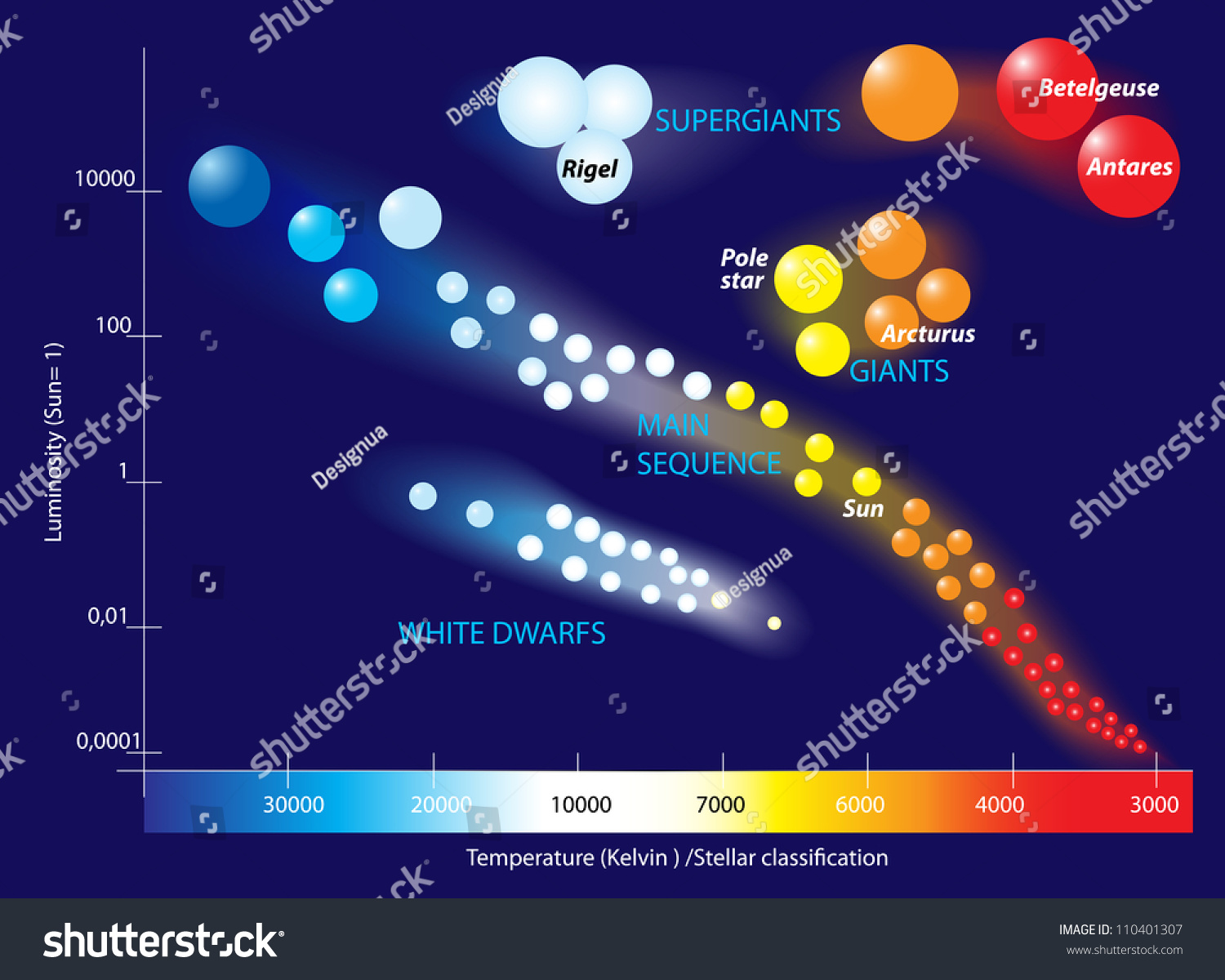 Hertzsprung russell diagram scatter graph stars stock vector the hertzsprung russell diagram is a scatter graph of stars showing the relationship between the stars pooptronica