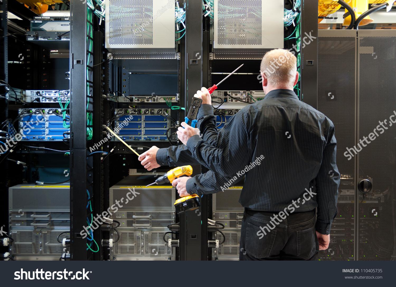 Concept Photo Network Administrator Installing Equipment Stock ...