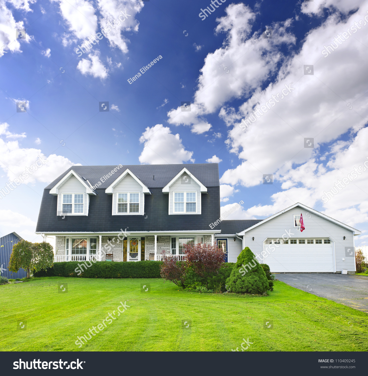 Two Storey Residential House With Attic: Beautiful Two Storey Residential House With Dormers And