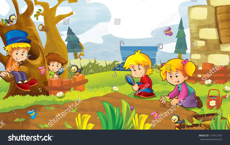 Happy Kids Having Fun Vegetable Garden Stock Illustration ...