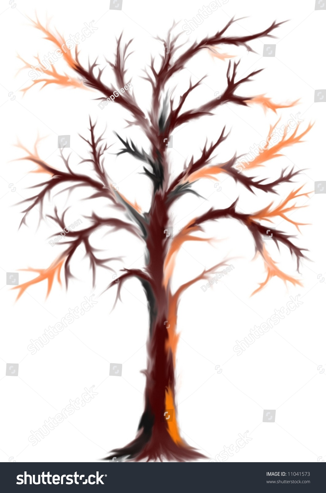 Simply Dark Brown Tree Without Leaves Stock Illustration ...