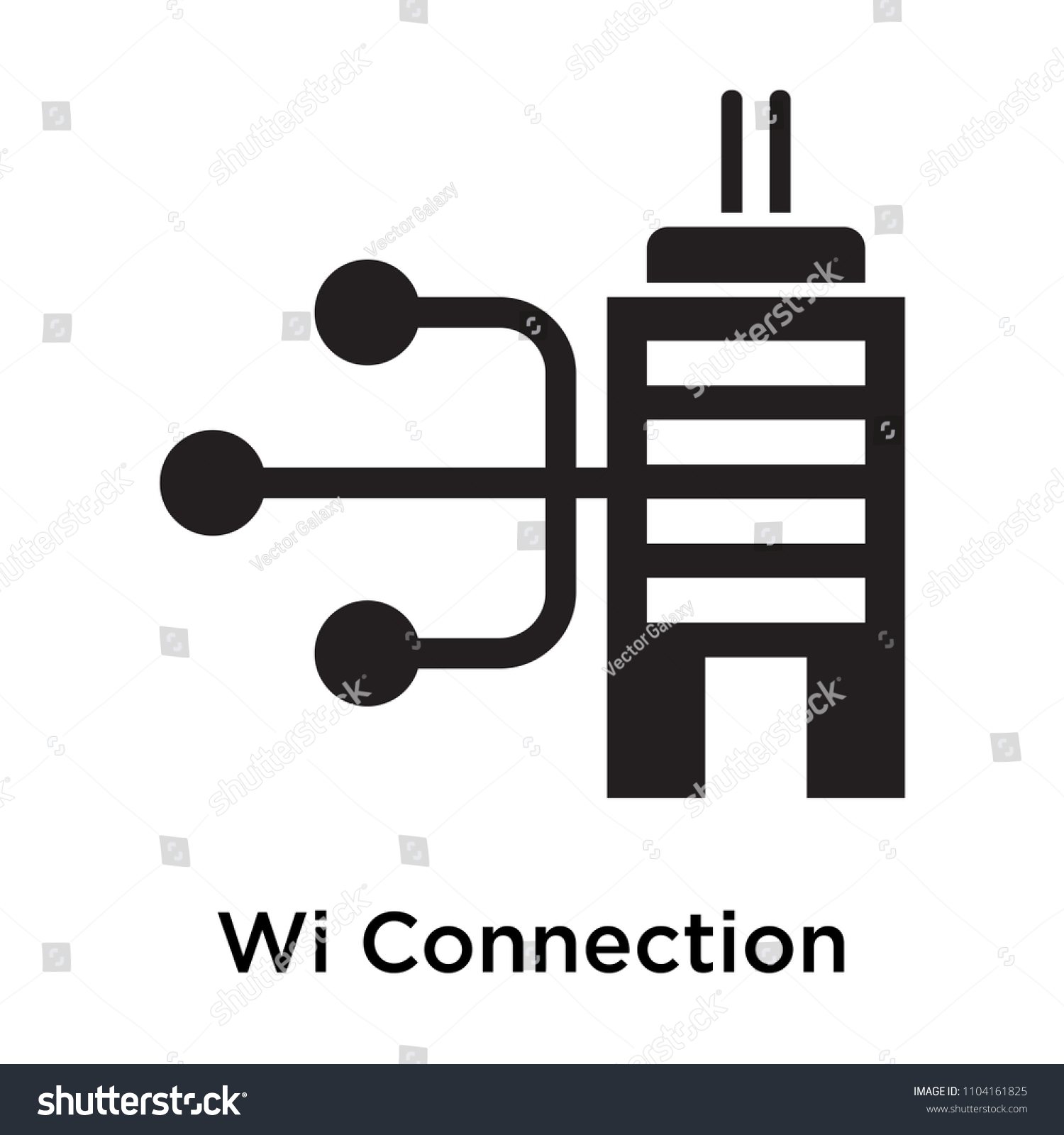 Wired Connection Silhouette Icon Vector Isolated Stock Vector ...