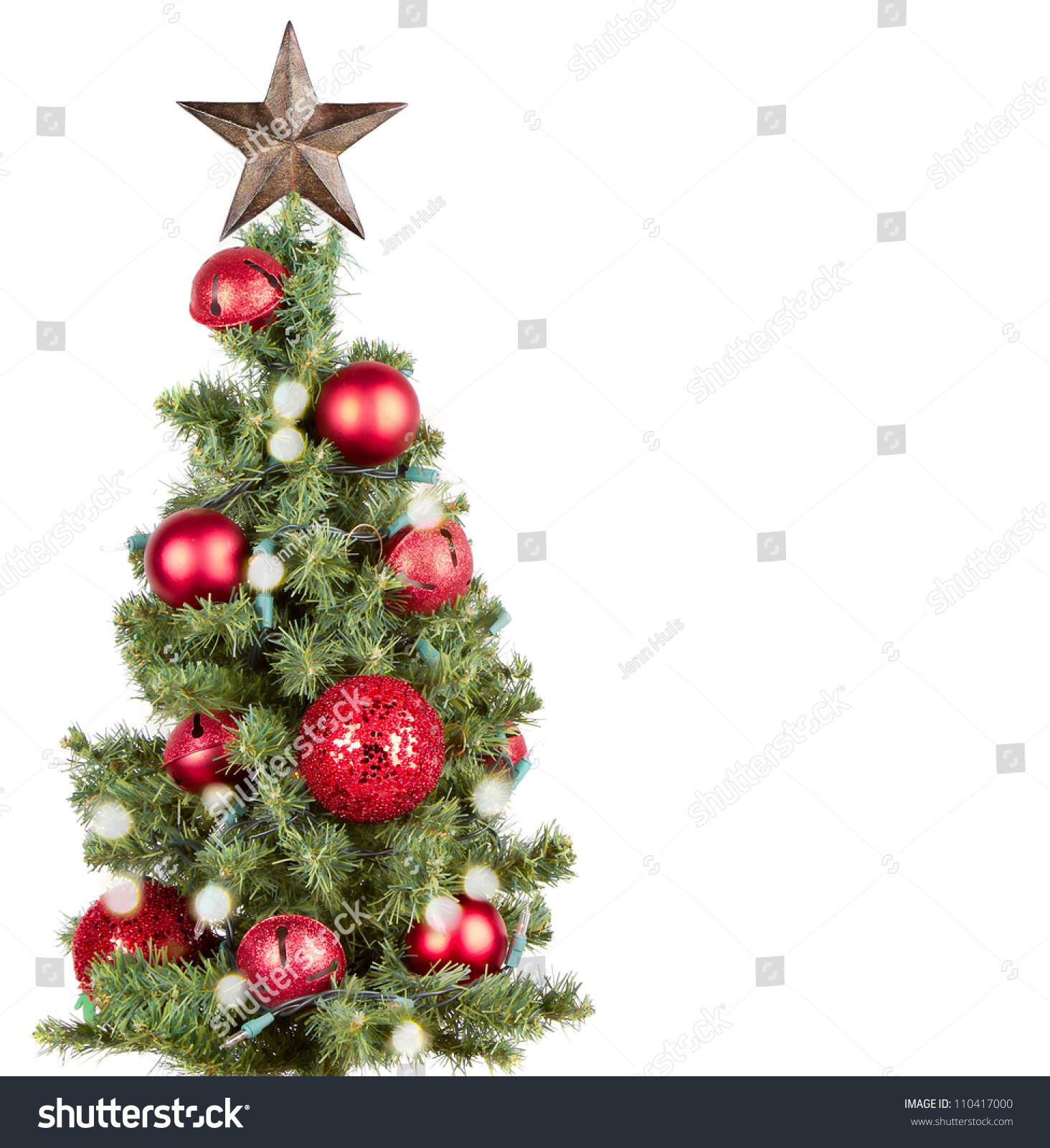 Christmas tree with red ornaments and star isolated on for White tree red ornaments
