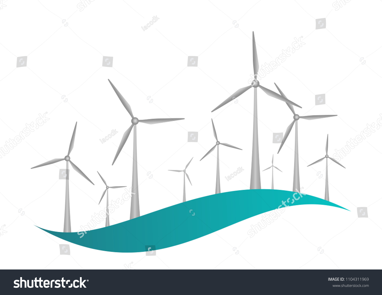 Gray Wind Turbines Engine Propellers On Stock Vector Royalty Free Power Turbine Diagram With And A Blue Wave White Background