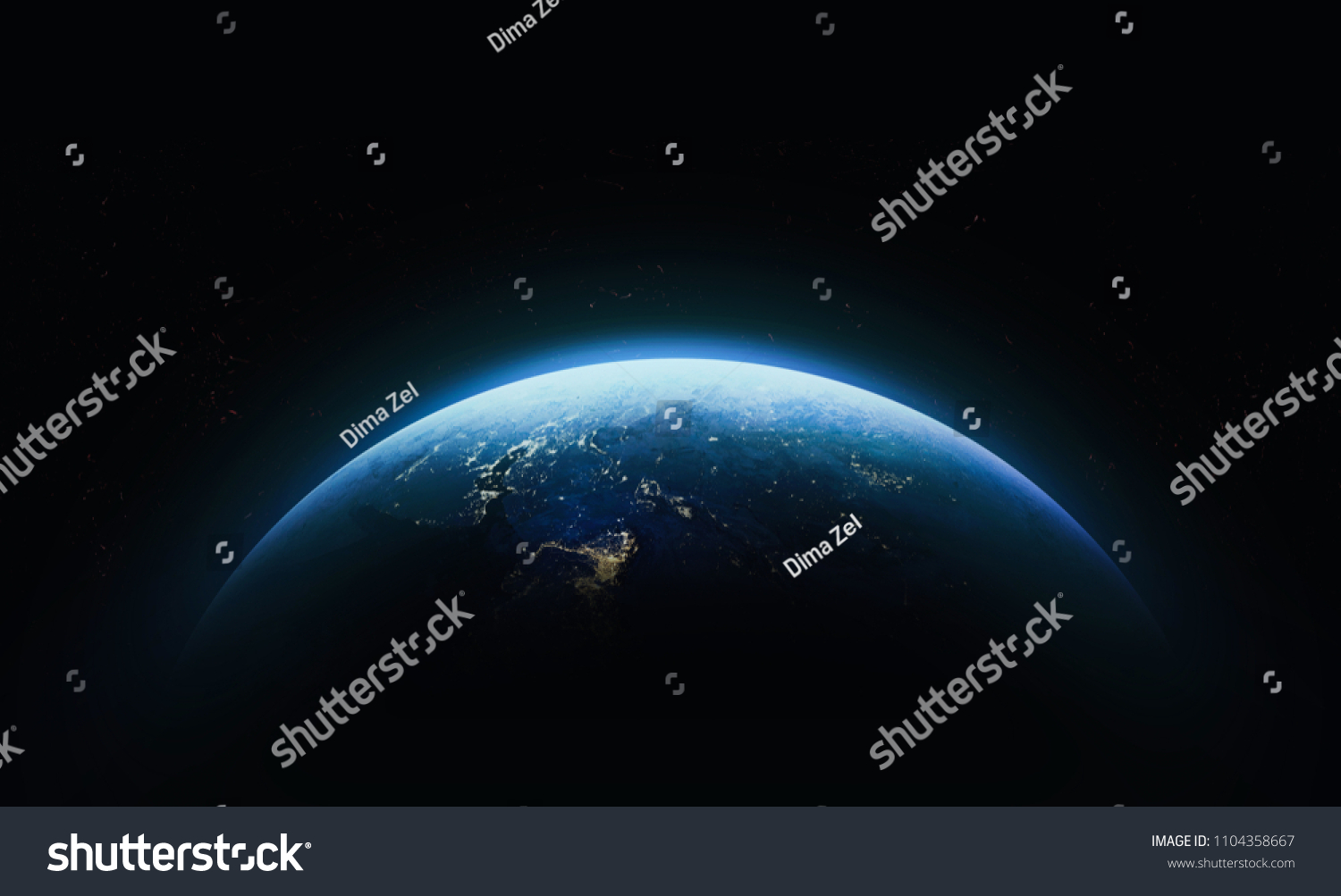 Nightly Earth in the outer space. Abstract wallpaper. City lights on planet. Civilization. Elements of this image furnished by NASA #1104358667