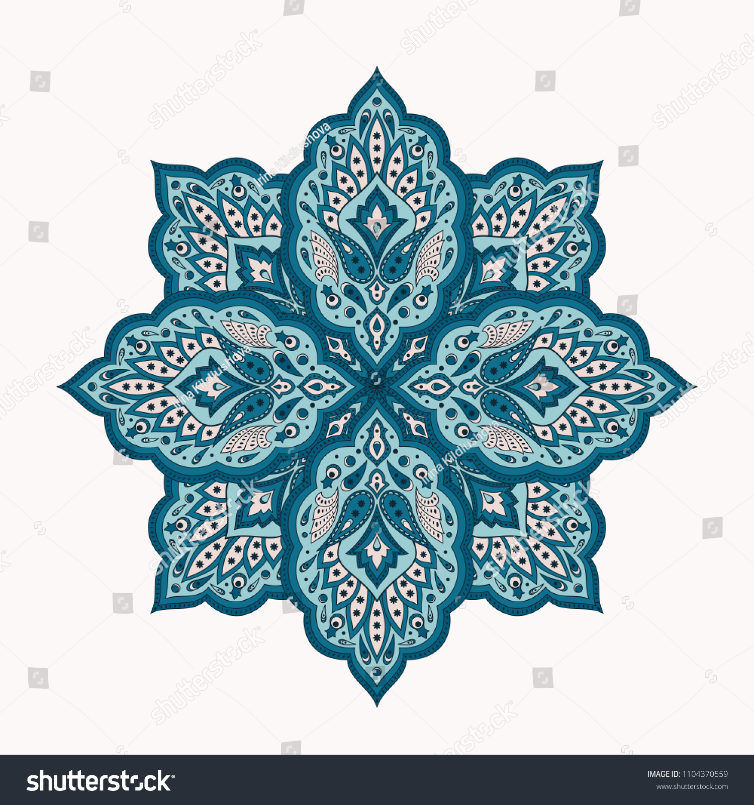 Floral Indian Mandala With Paisley Pattern Vector Eastern Flower Medallion