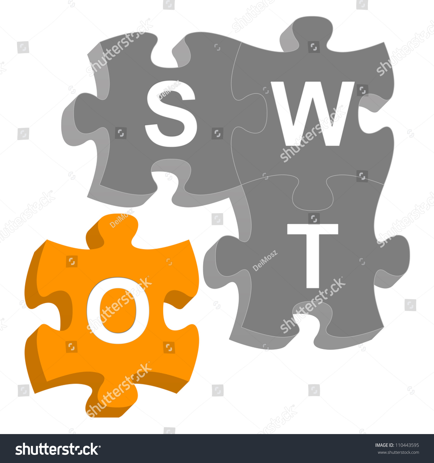 Missing Piece 3 D SWOT Puzzle Business Stock Illustration 110443595 ...