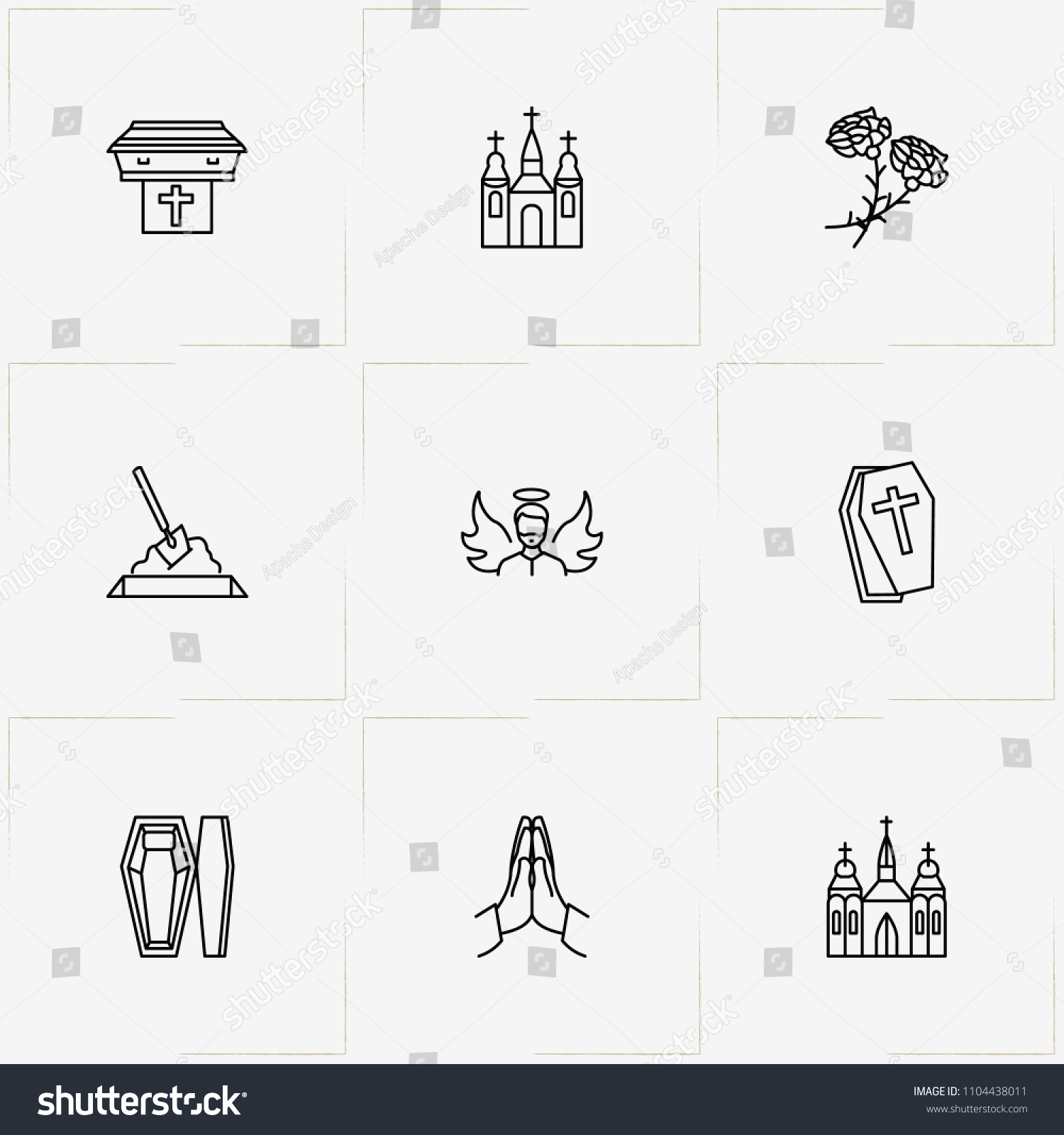 Funeral line icon set angel funeral stock vector 1104438011 funeral line icon set with angel funeral flowers and pray izmirmasajfo