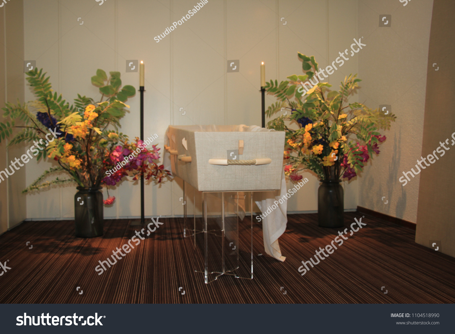 Modern Casket Funeral Home Flowers Candles Stock Photo Edit Now