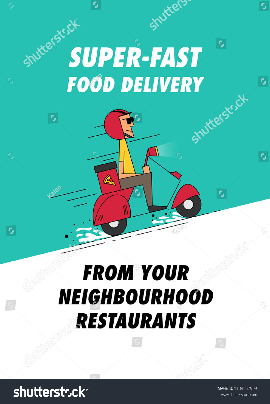 Ad Concept pizza delivery boy delivering pizza on stock vector (royalty free